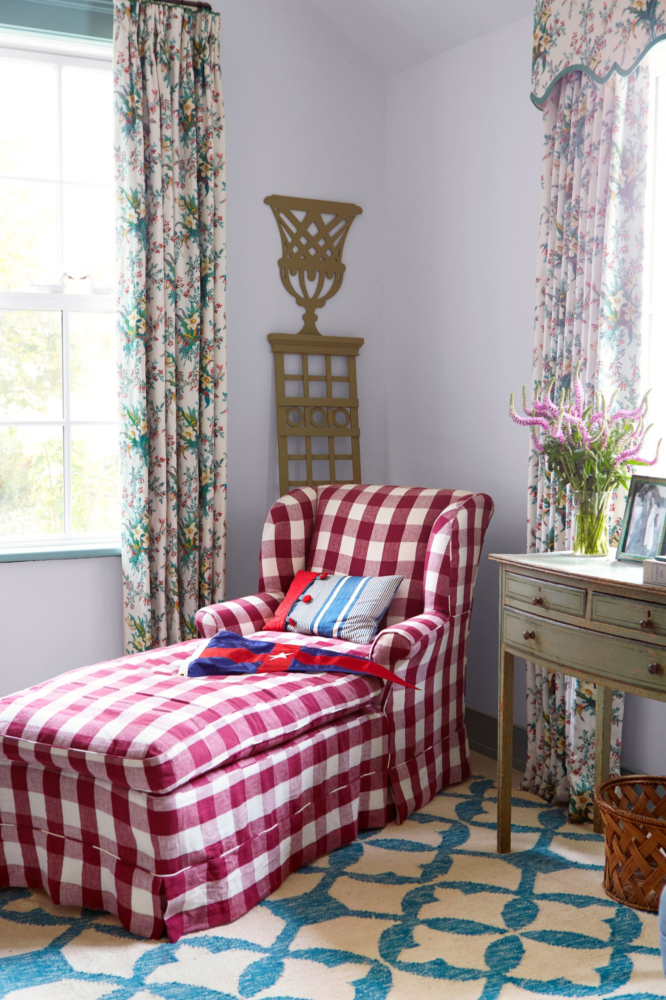Madison Spencer Virginia Cottage Main Bedroom chaise lounge in red buffalo check pattern