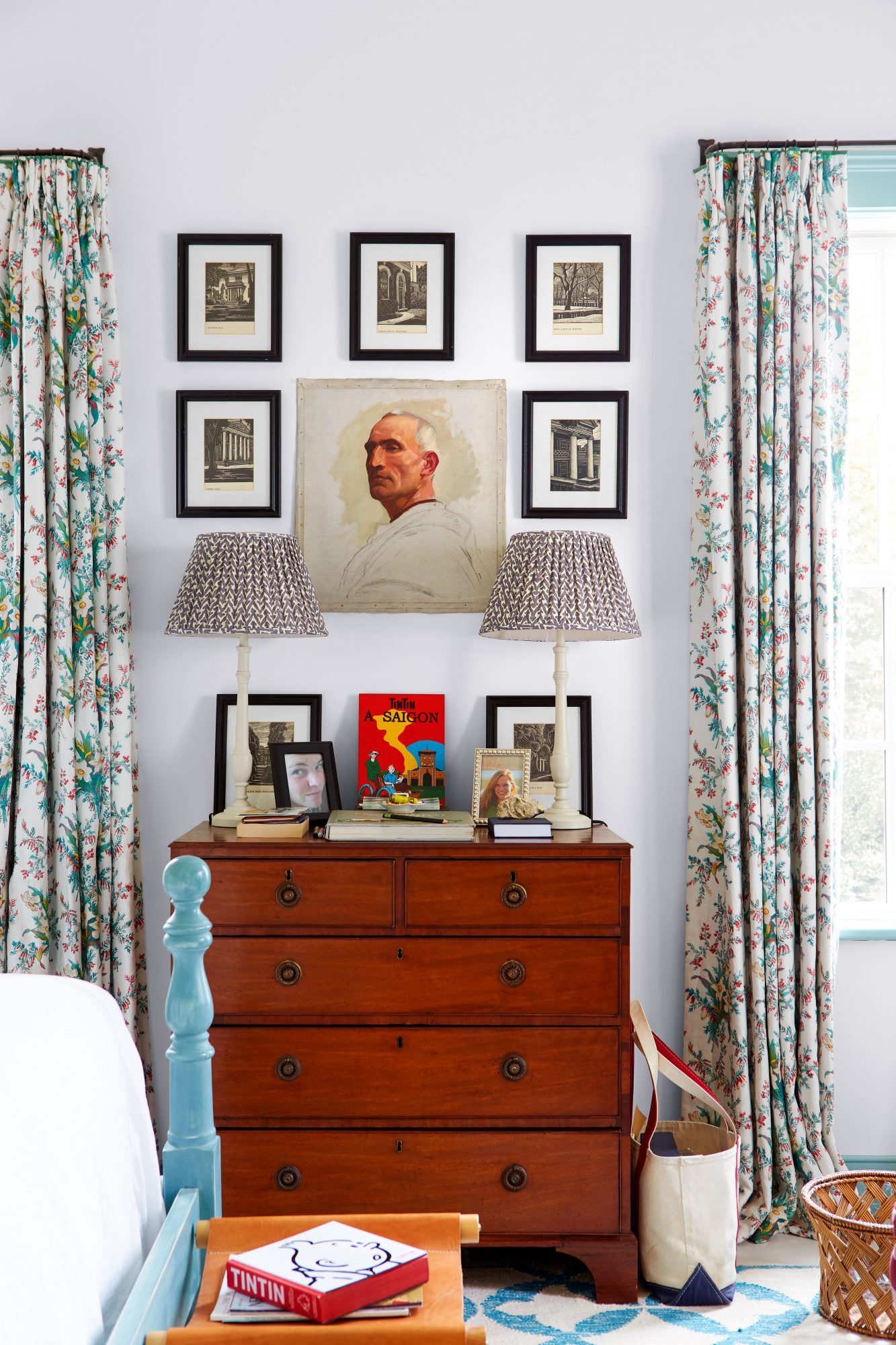 Madison Spencer Virginia Cottage Main Bedroom Dresser with Layered Art on Wall