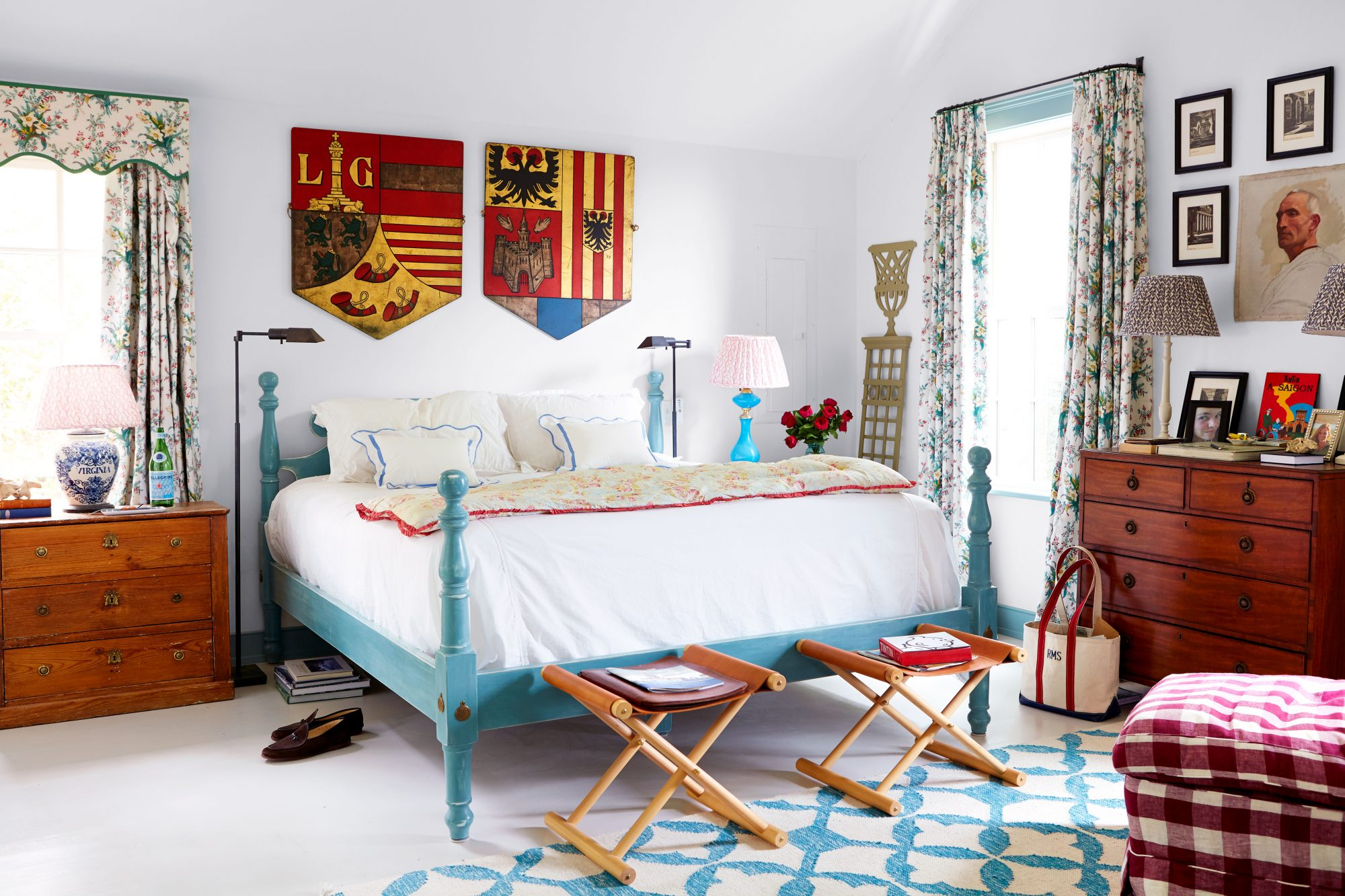 Madison Spencer Virginia Cottage Main Bedroom with Teal Bed and White Linens