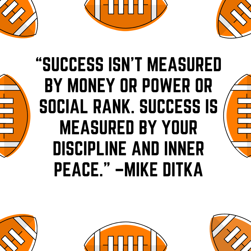 """""""Success isn't measured by money or power or social rank. Success is measured by your discipline and inner peace."""" –Mike Ditka"""