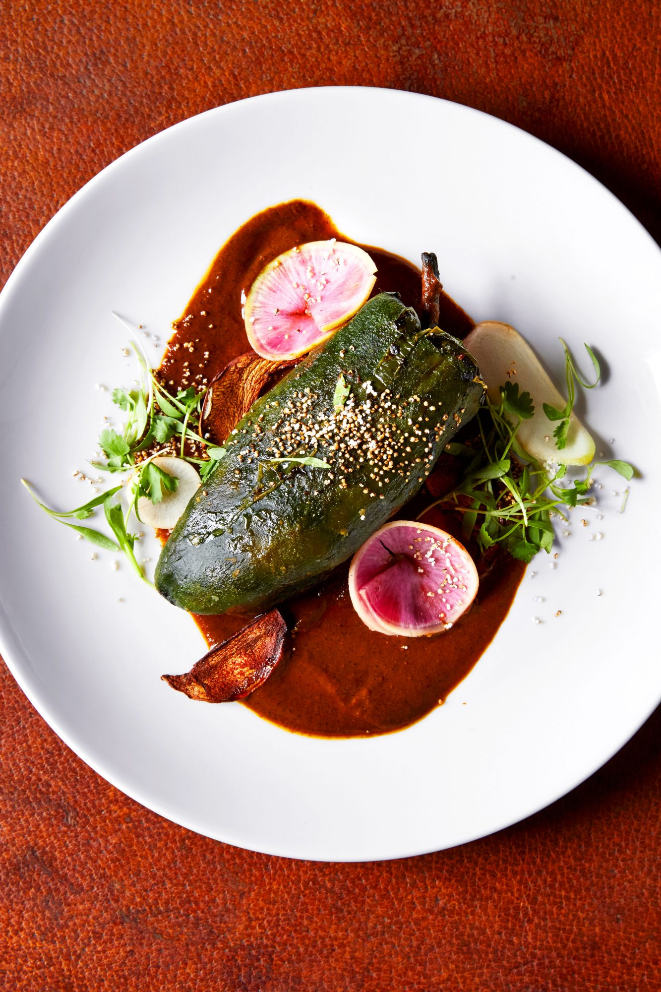 Enjoy a Mexican Style Chile Relleno at 12 Gage Restaurant in Marathon, TX