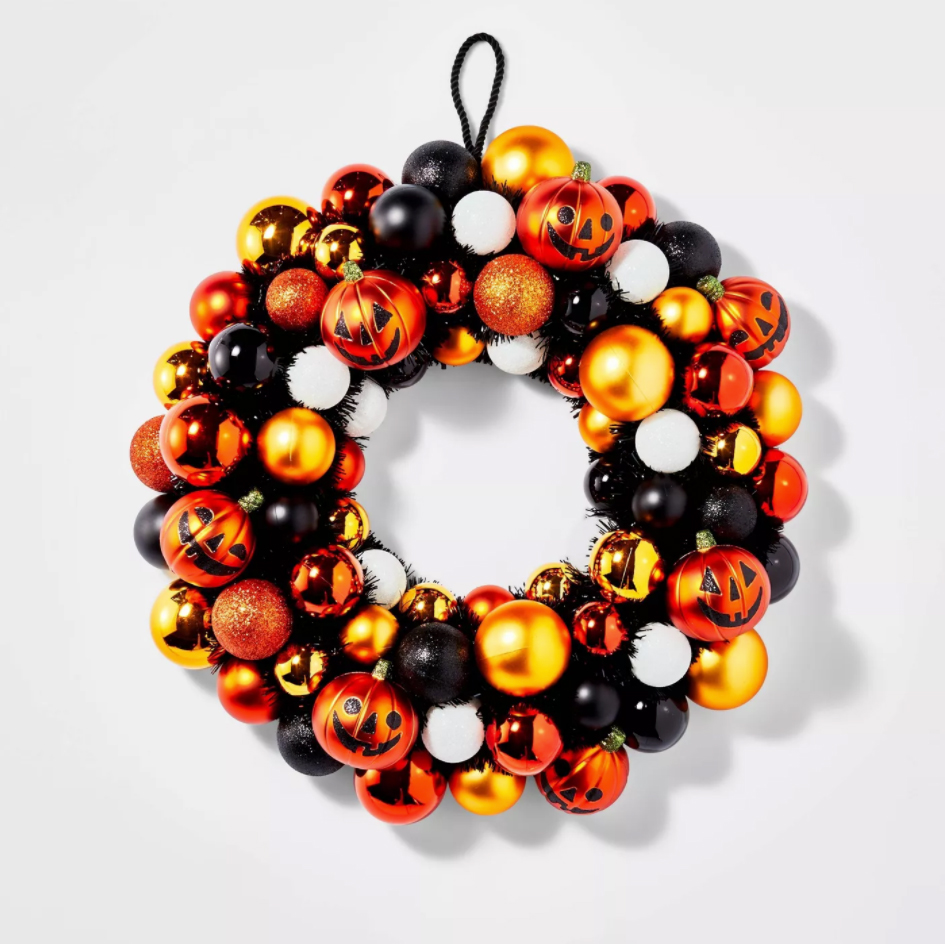 Shatterproof Ornament Halloween Wreath Orange
