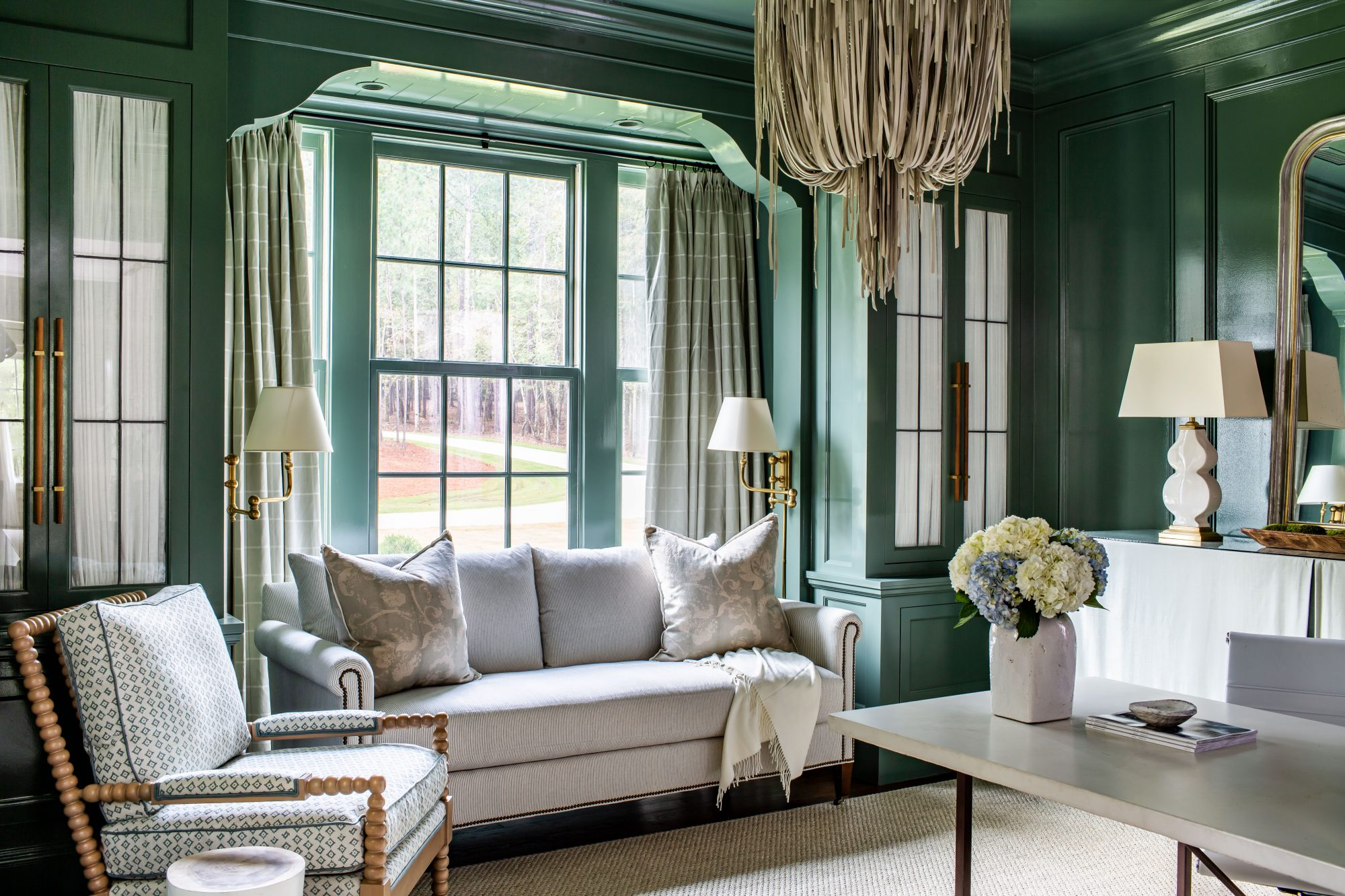 Farrow and Ball Green Smoke Paint Color in Living Room
