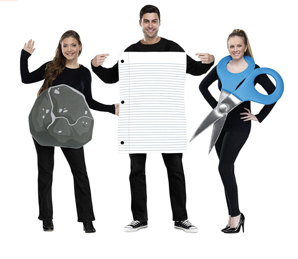 Family Halloween Costumes Rock, Paper, Scissors