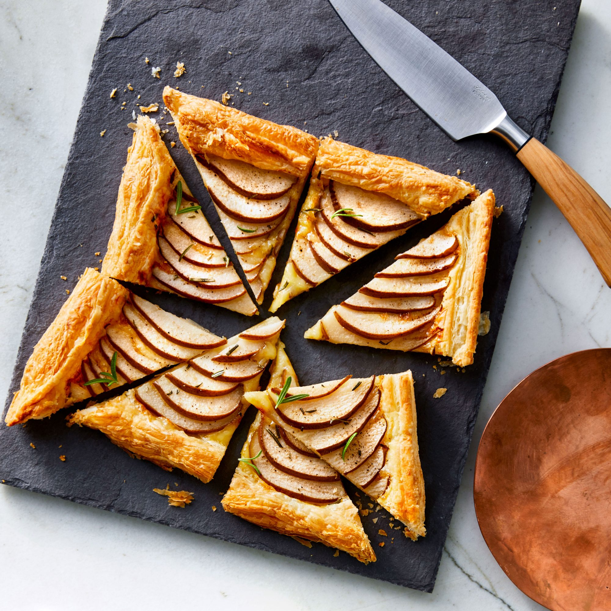 Pear-and-Brie Puff Pastry Tarts
