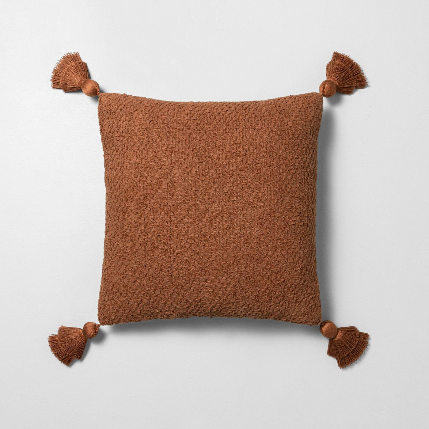extured Cotton Flare Tassel Throw Pillow in Rust