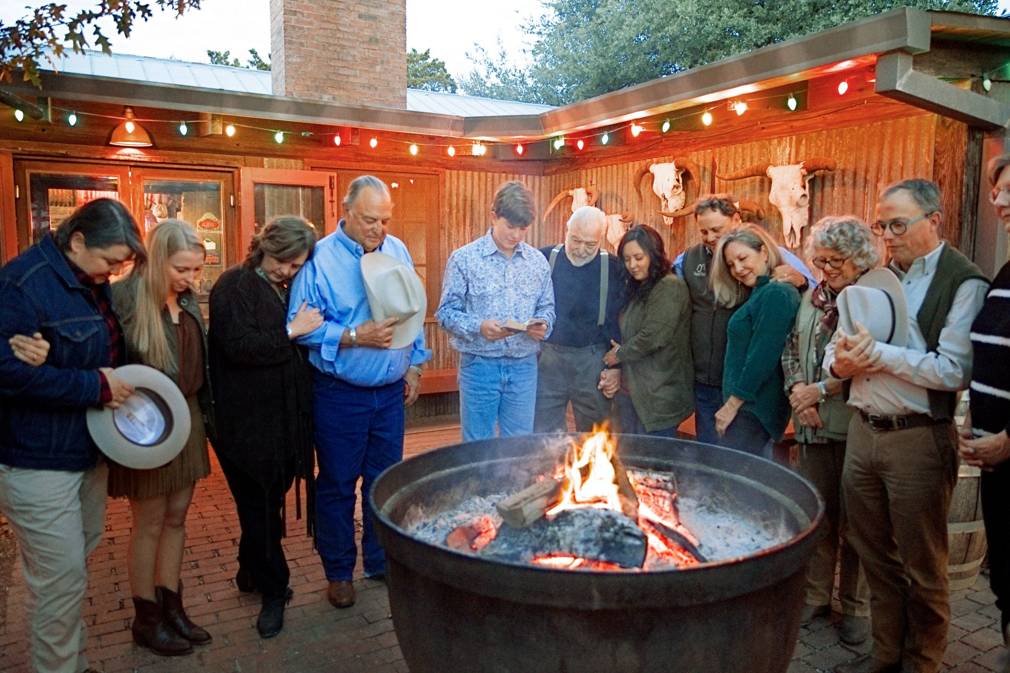 Perini and Wagstaff Family Thanksgiving in Buffalo Gap, TX Prayer Book Reading Around Fire