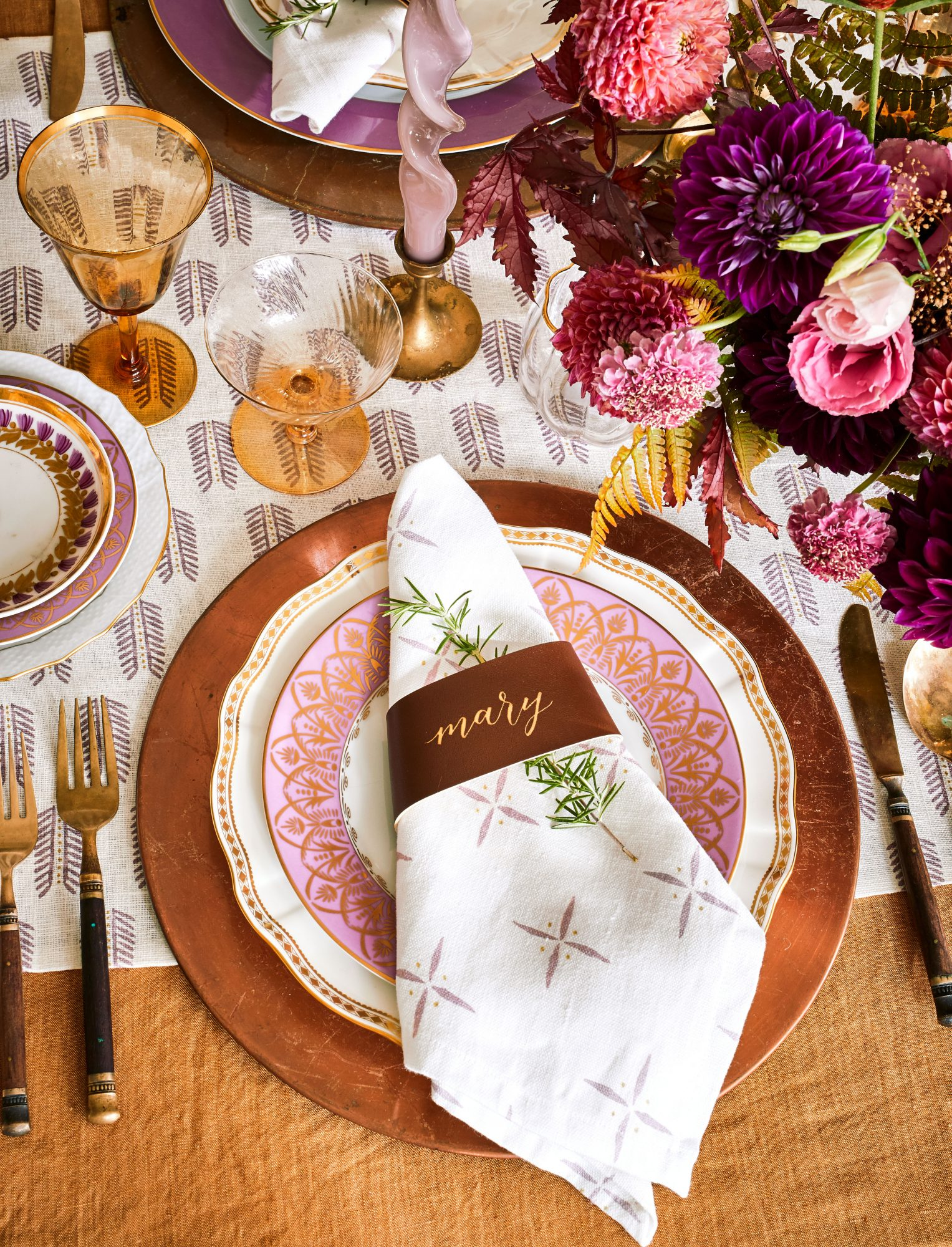 Thanksgiving Table Setting with Leather Napkin Ring Place Card