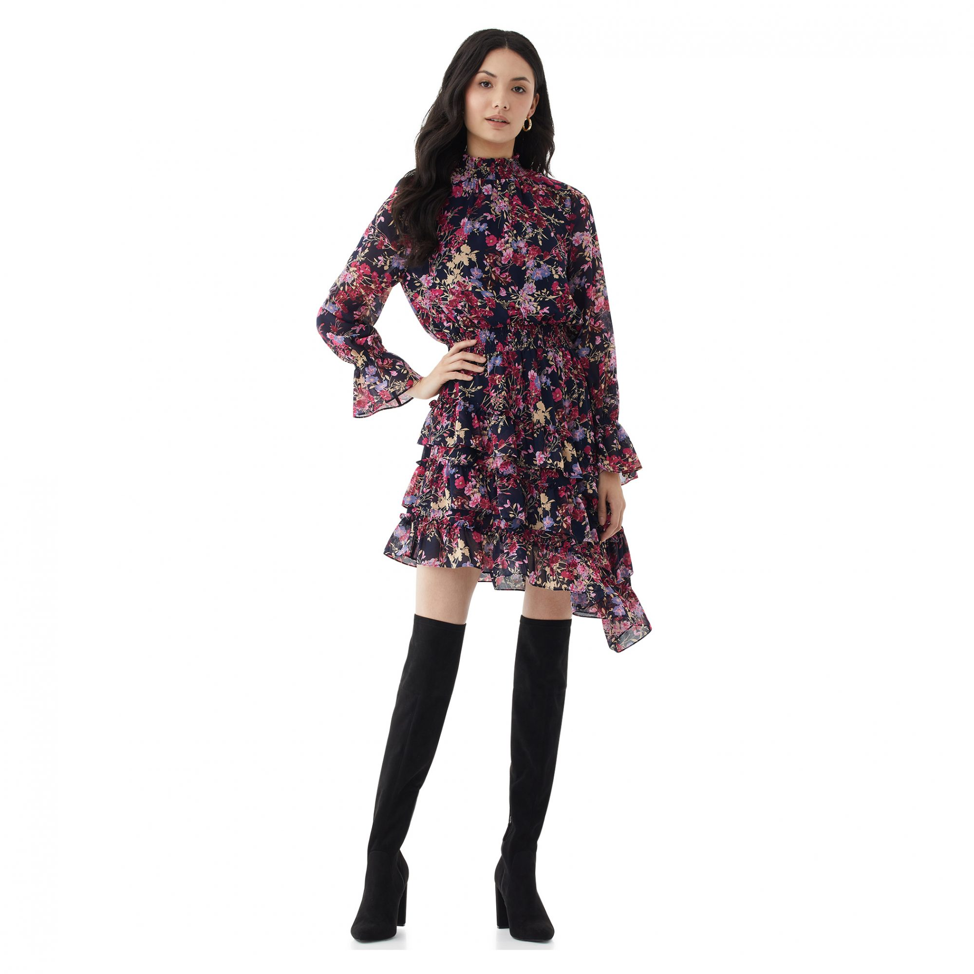 Scoop Women's Floral Print Dress with Asymmetric Ruffled Hem