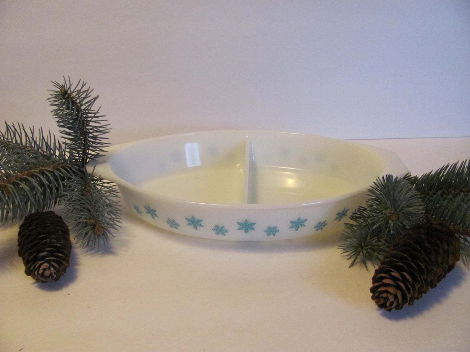 Blue Aqua Snowflake Pyrex Divided Serving Dish