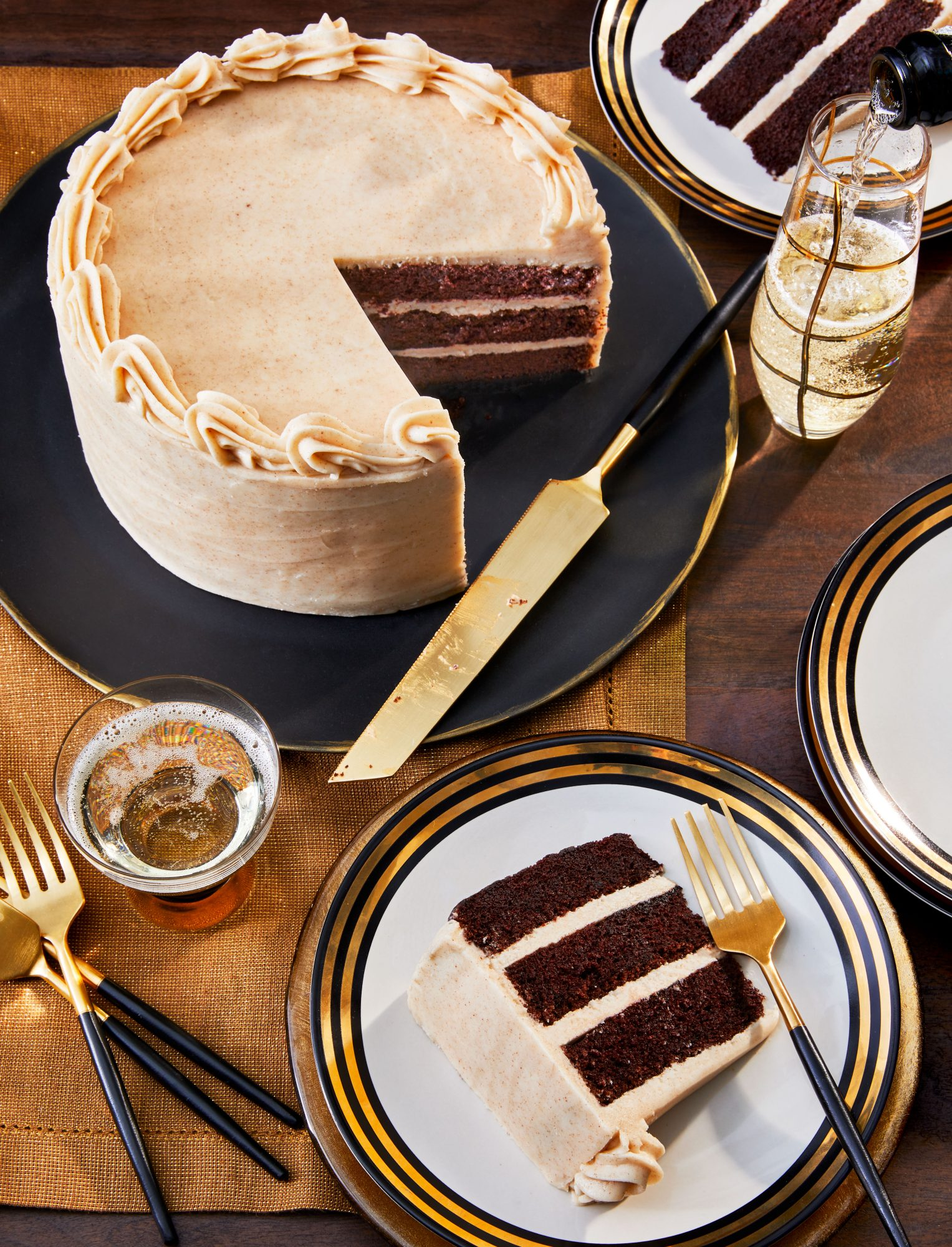 Bourbon-Chocolate Cake with Browned Buttercream
