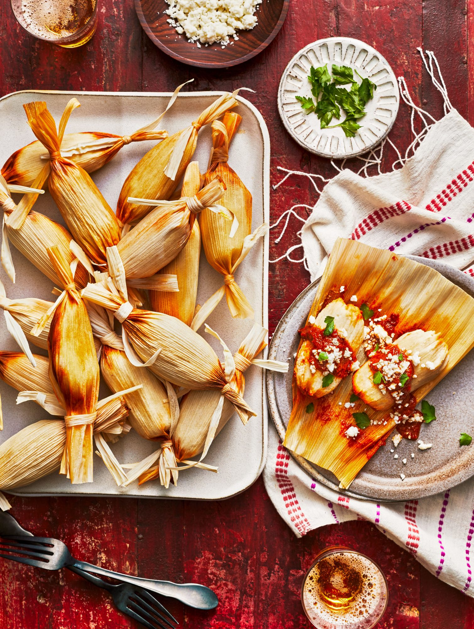 Chicken Tamales with Roasted Tomato-and-Dried Chile Sauce