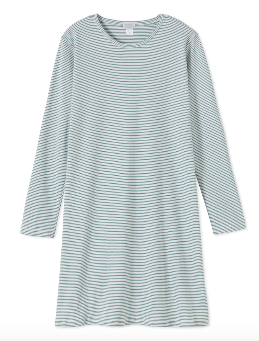 Pima Long Sleeve Weekend Nightgown in Classic Green