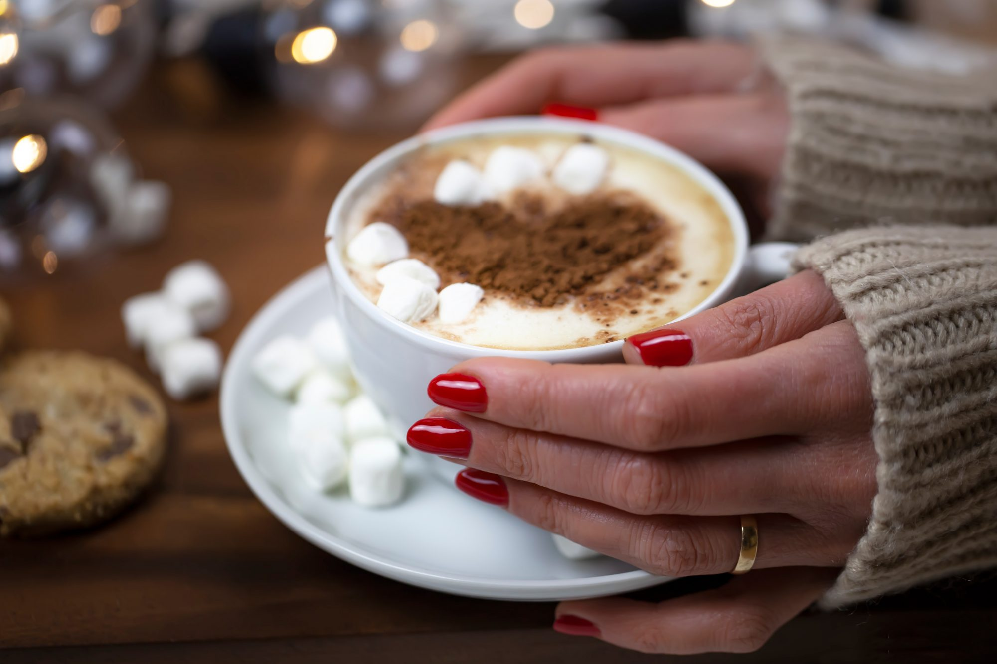 Red Nails Holding Cocoa