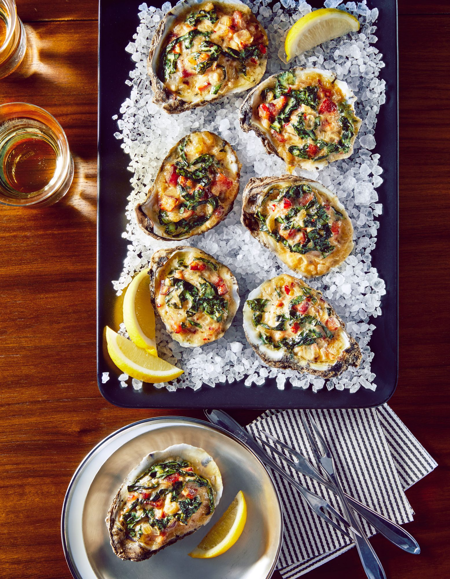 Baked Oysters with Bacon, Greens, and Parmesan