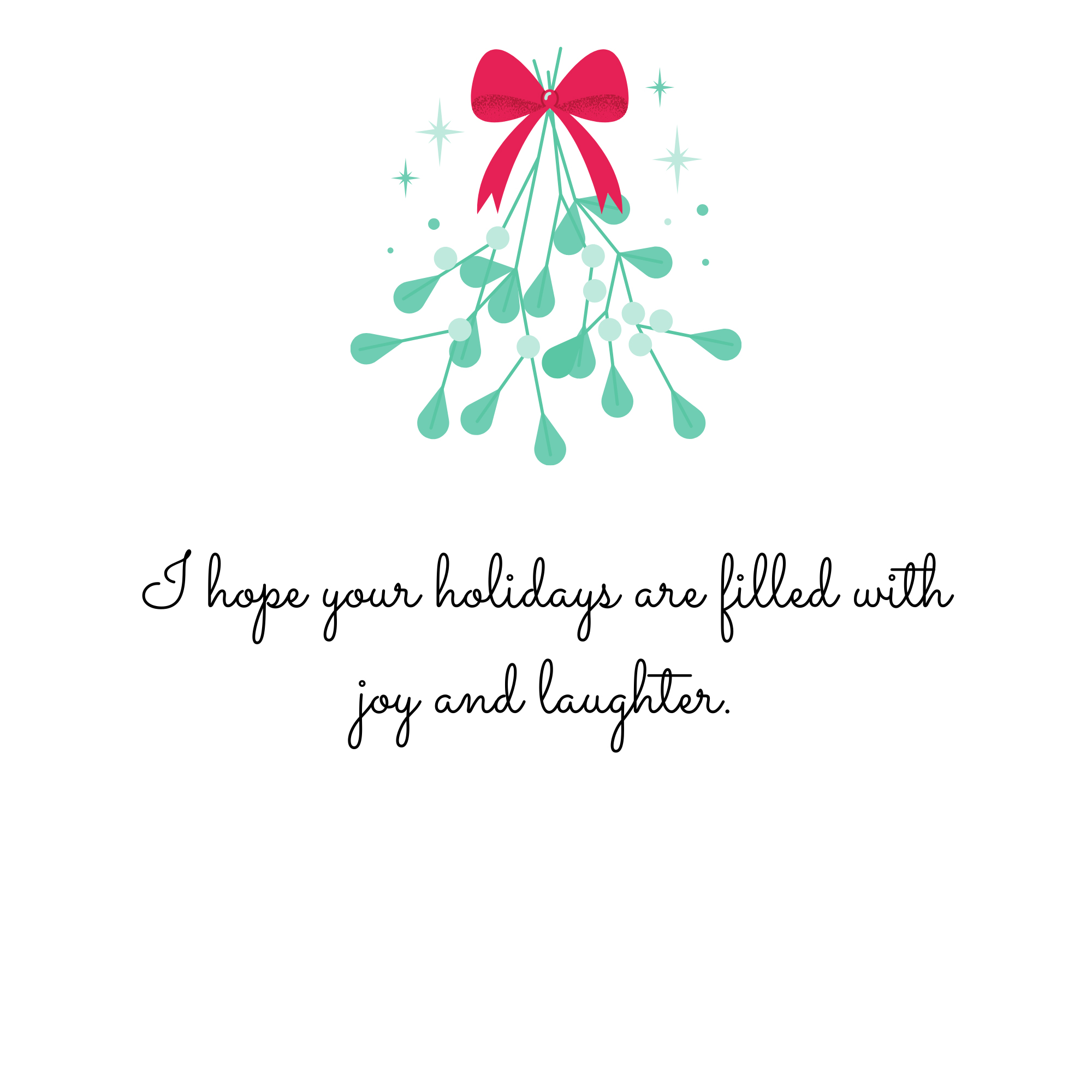 I hope your holidays are filled with joy and laughter.