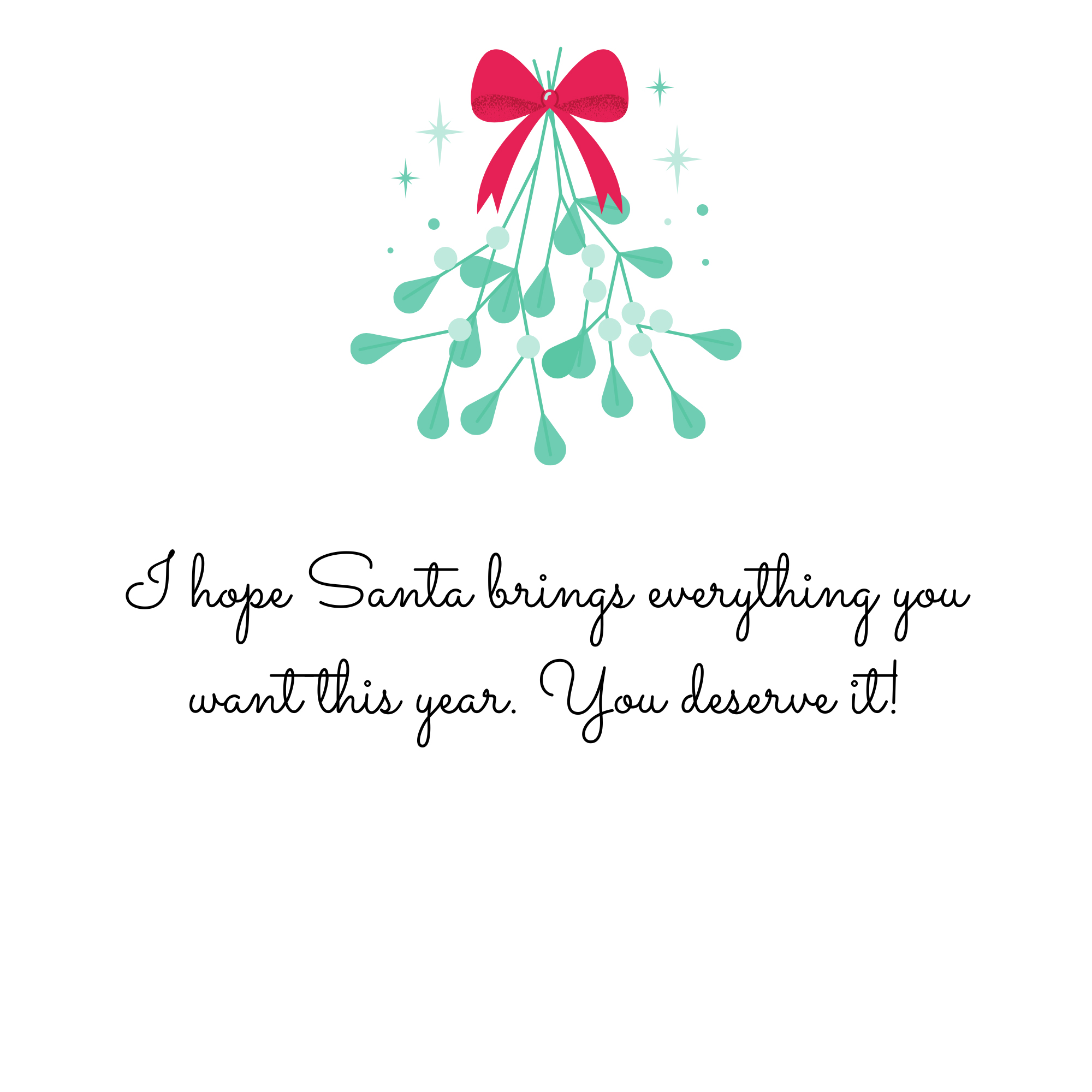I hope Santa brings everything you want this year. You deserve it!