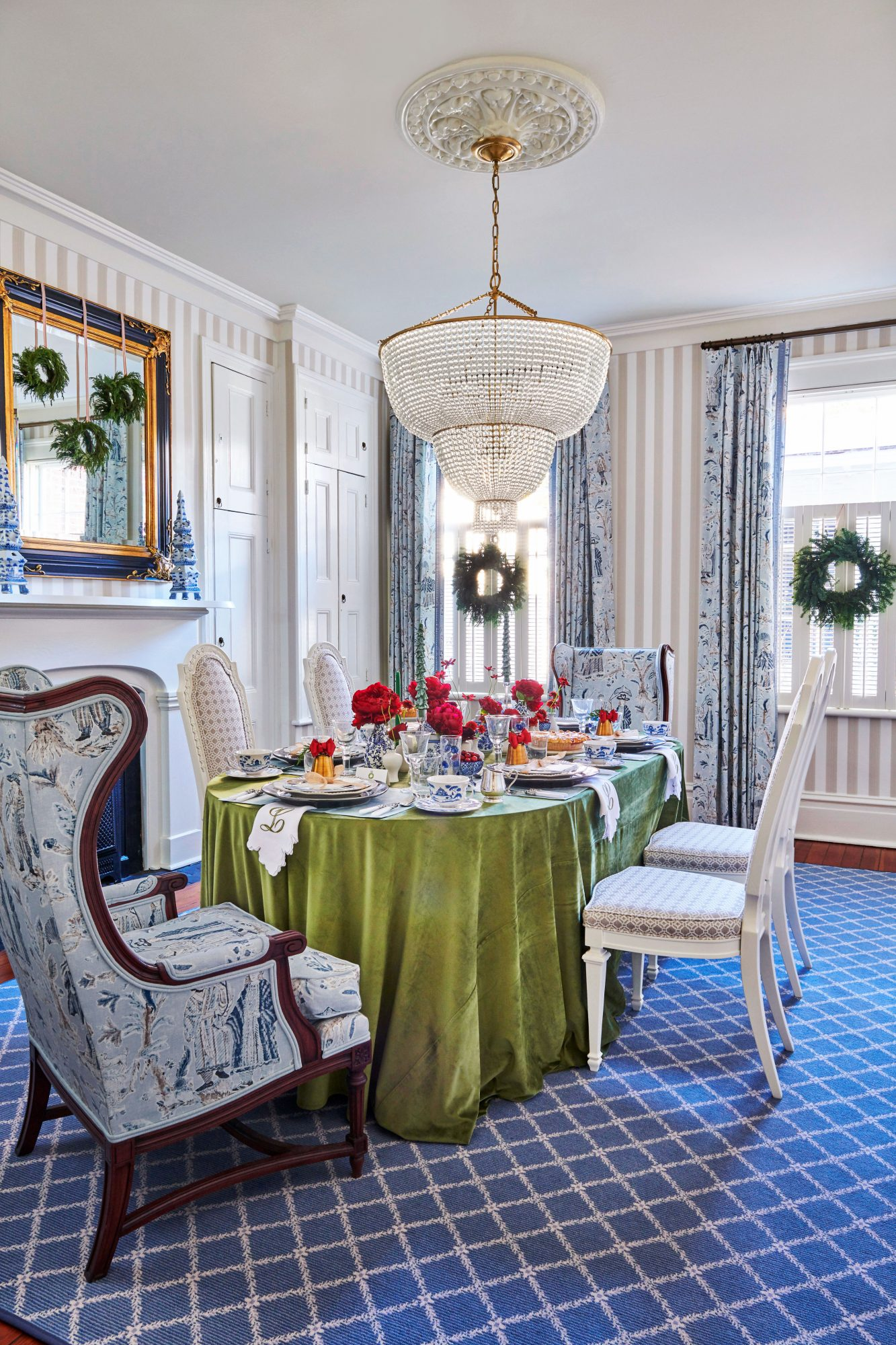 Blue and Green Dining Room with Striped Walls decorated for Christmas