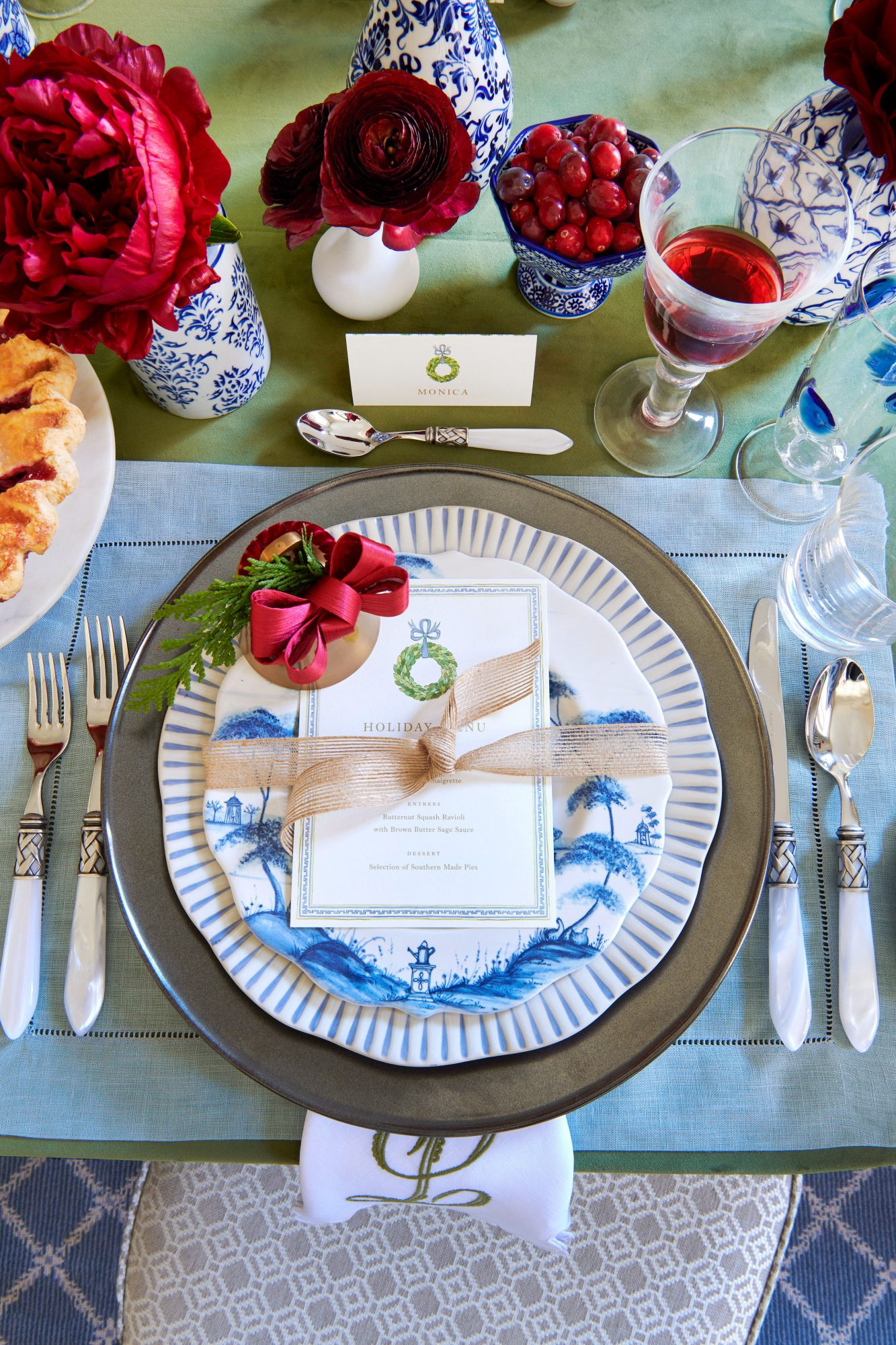 Blue and Green Table Setting for Christmas