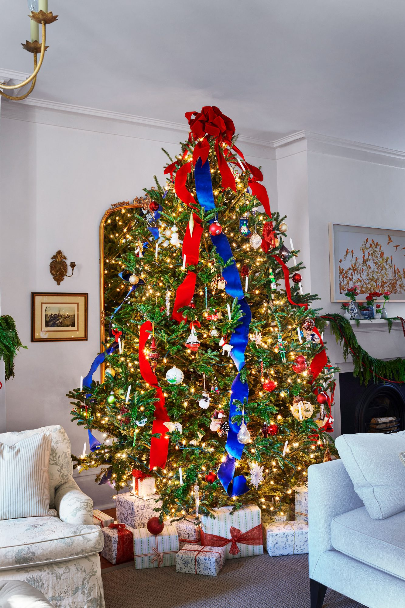 Christmas Tree with Red and Blue Ribbons
