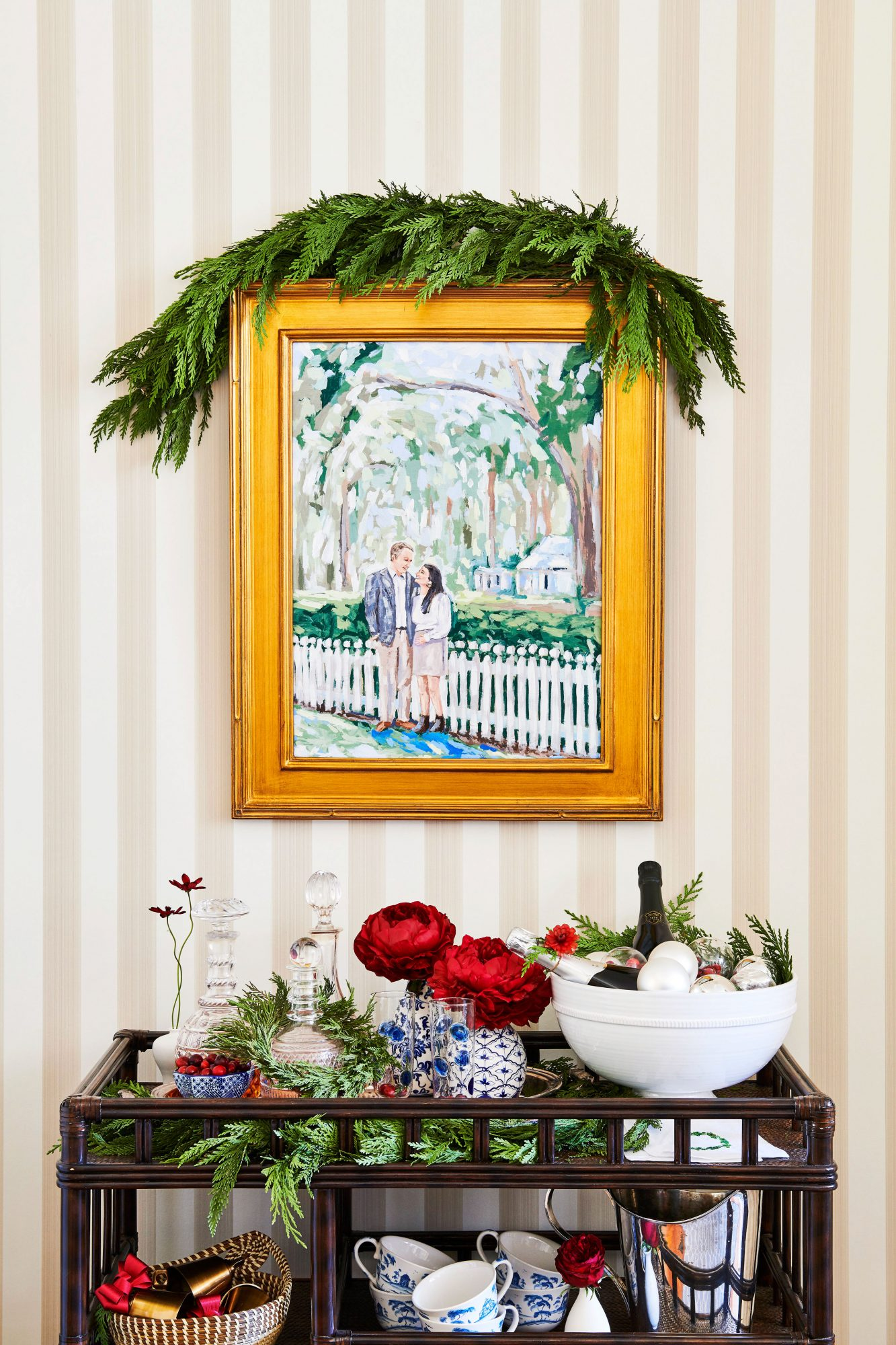 Festive bar cart and couple portrait decorated for the holidays