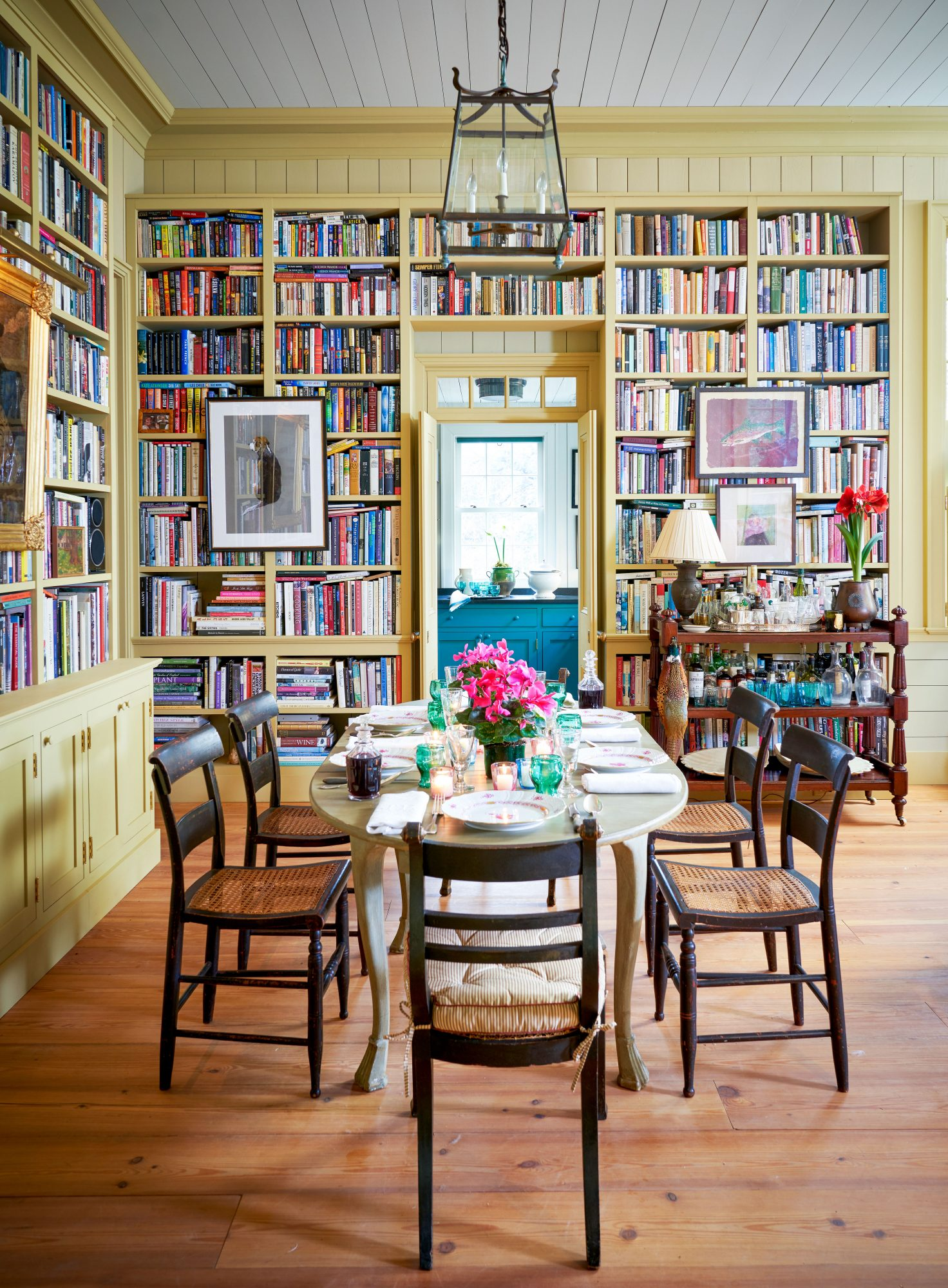 Dining Room with Built in Bookshelves