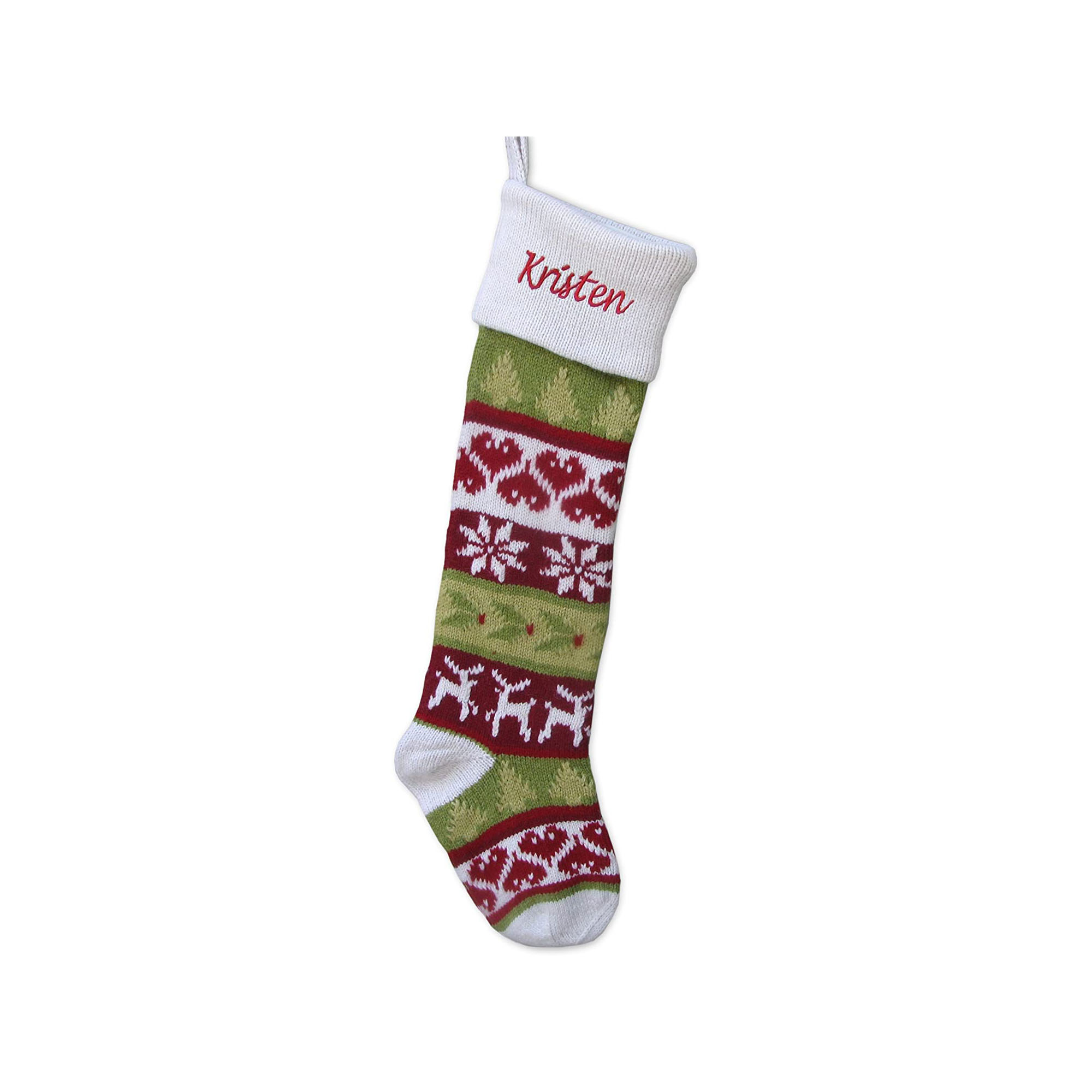 Knitted Personalized Christmas Stocking with White Cuff