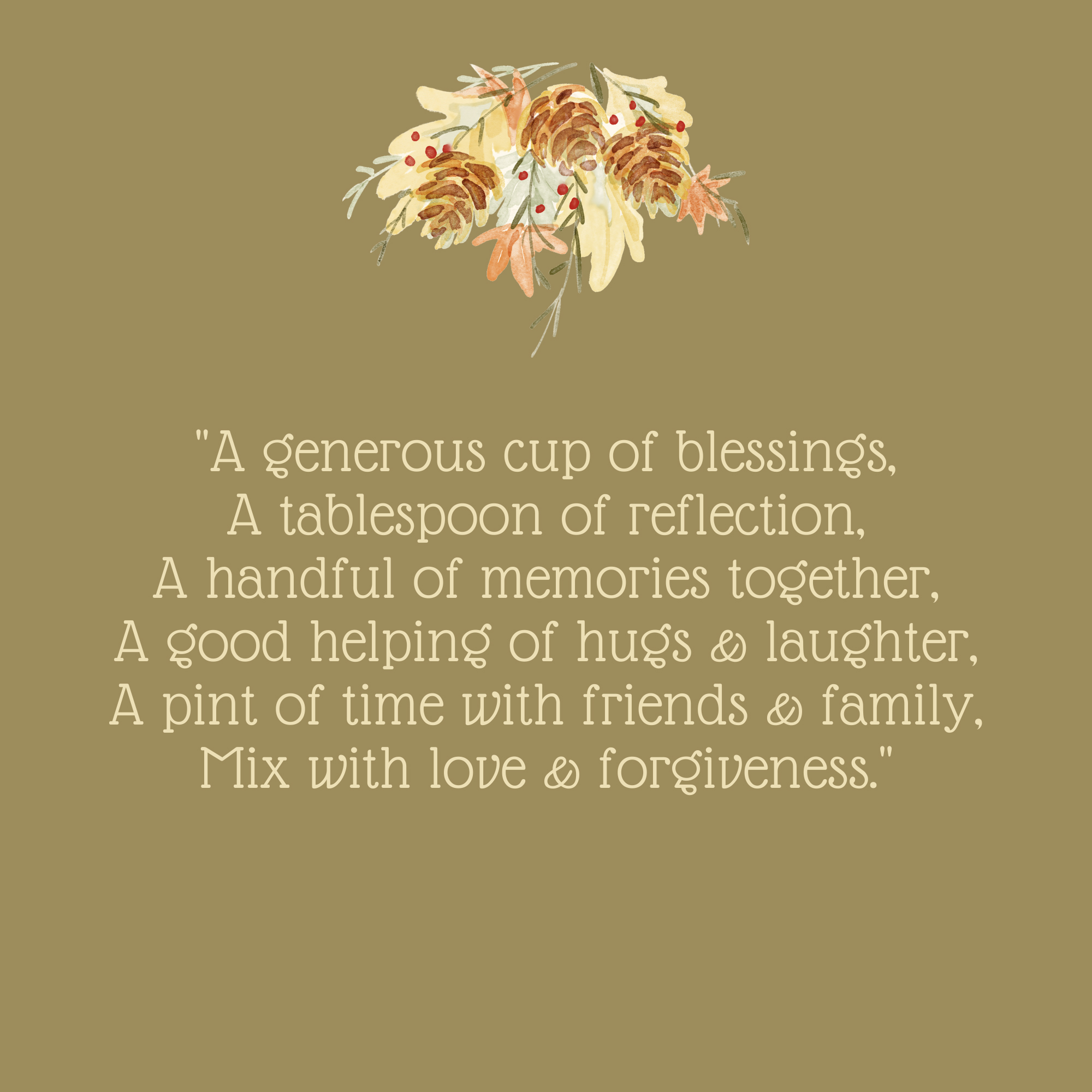 A Generous Cup of Blessings Thanksgiving Quote
