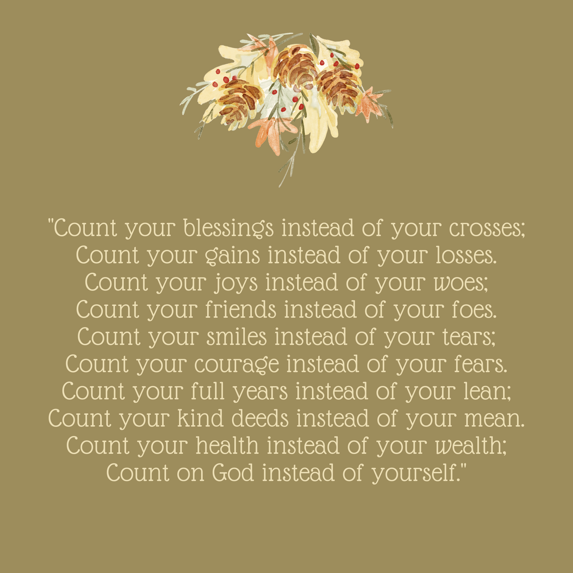 Count Your Blessings Thanksgiving Quote