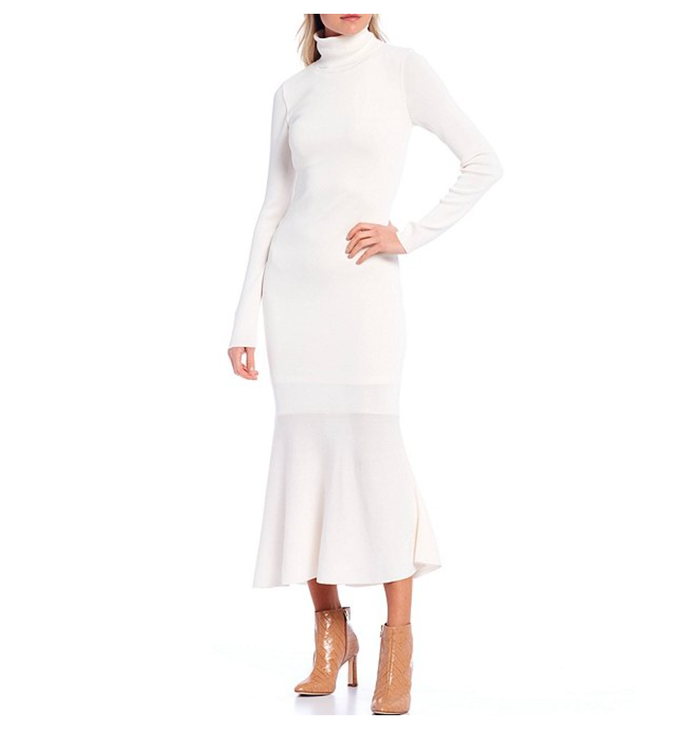 BUY IT: $149; dillards.comWhen it comes to cold-weather style, we're Team Winter White! (But if that's not your thing, the form-fitting frock comes in three more colors.)