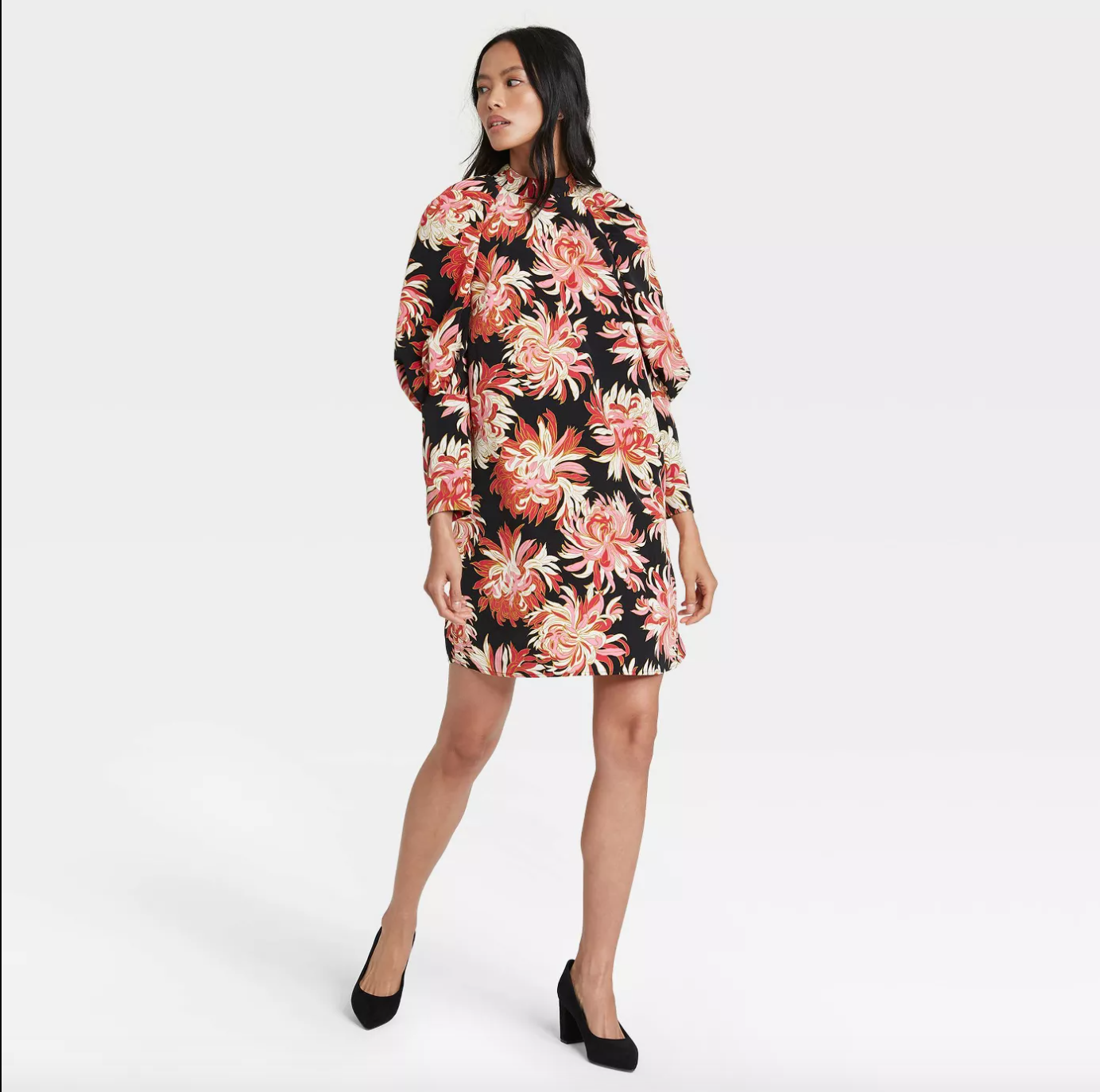 Who What Wear Women's Floral Print Puff Long Sleeve Dress