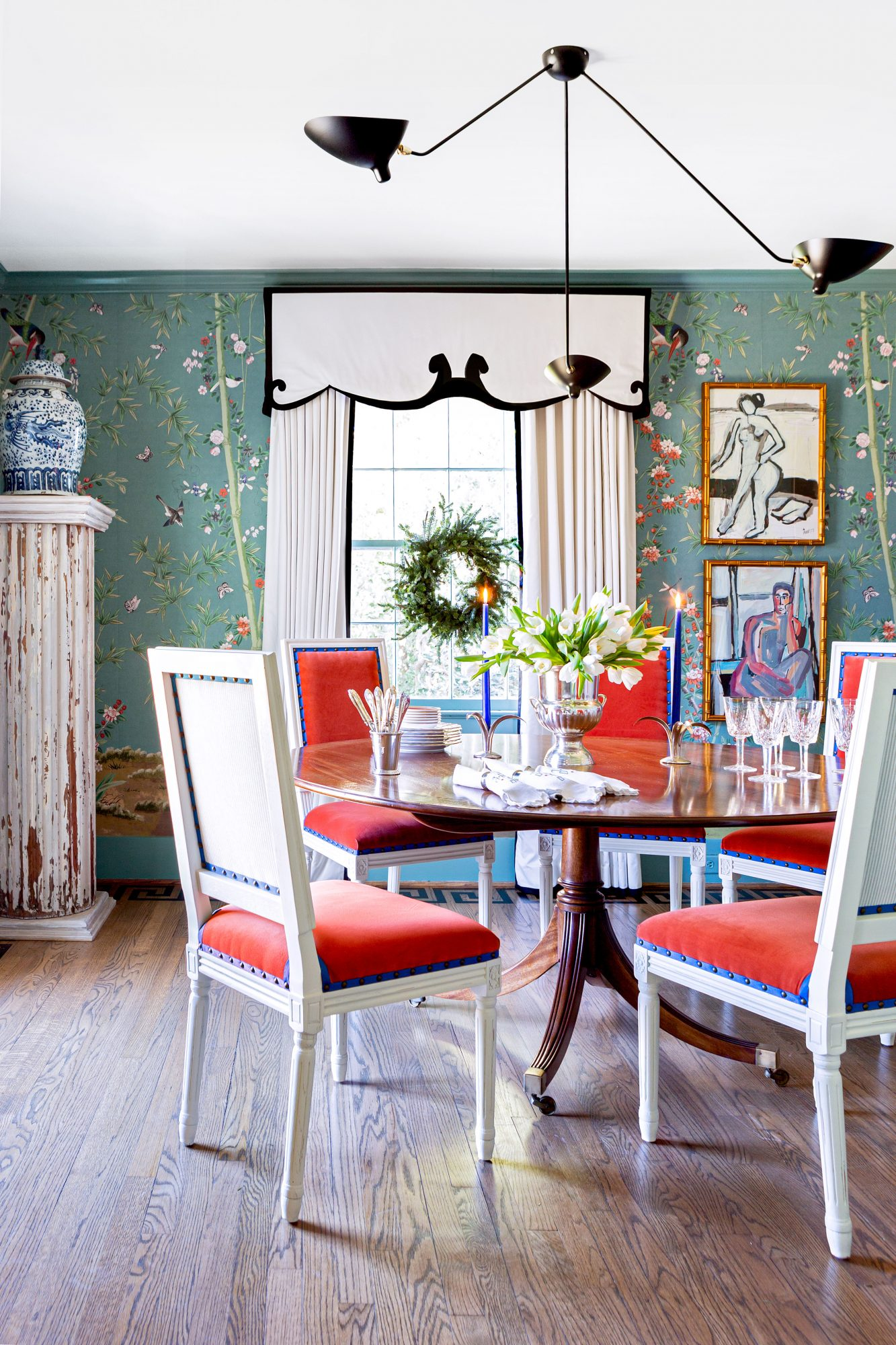 Formal Dining Room with Green Wallpaper and Pops of Blue and Salmon