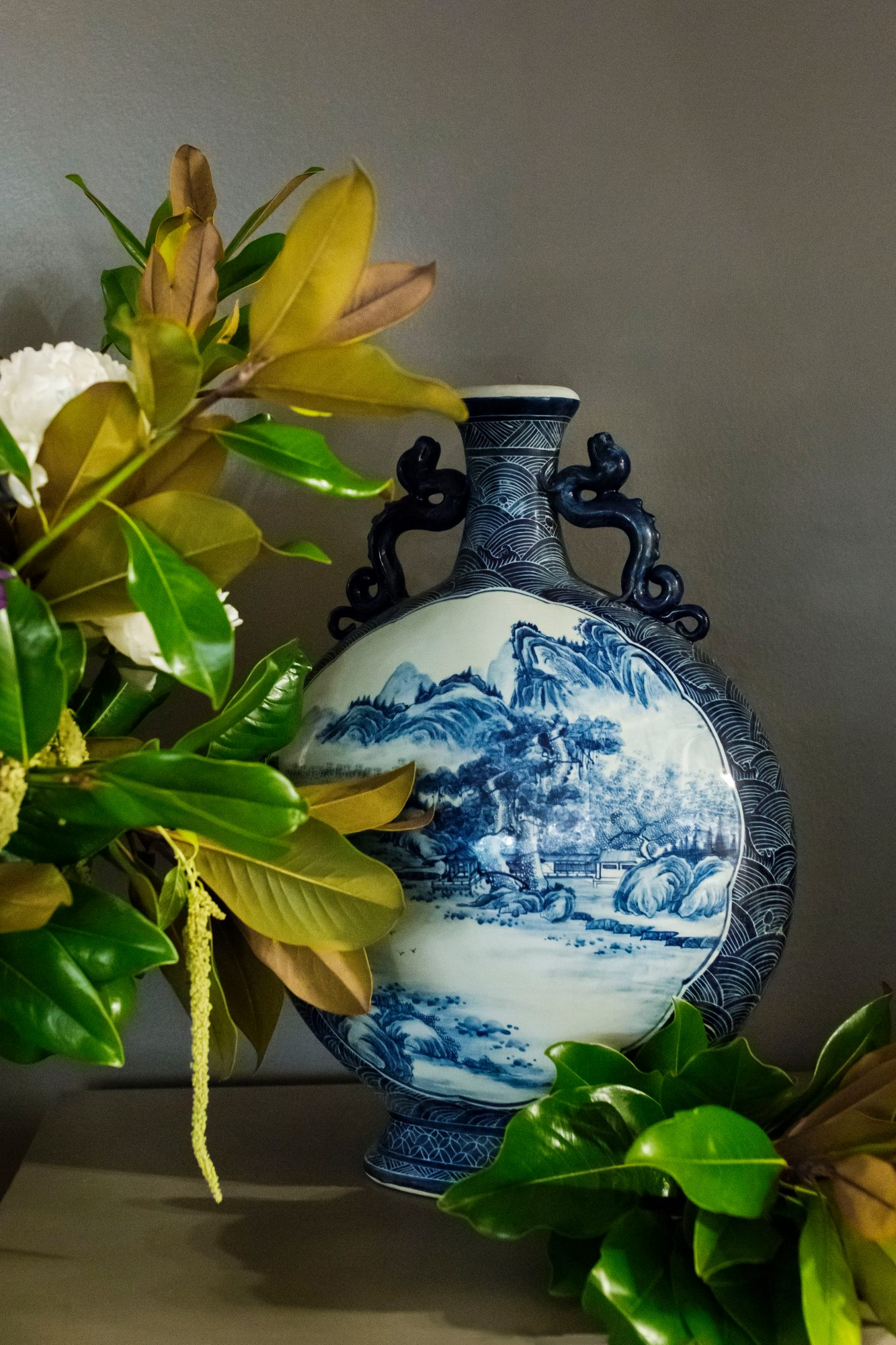 Blue and White Vase with Magnolia