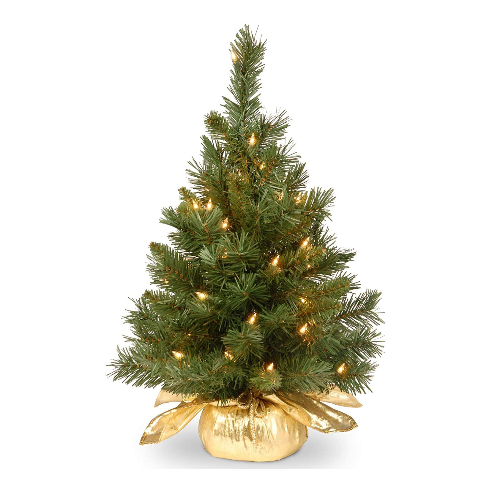 Pre-Lit Artificial Mini Christmas Tree with Gold Cloth Bag