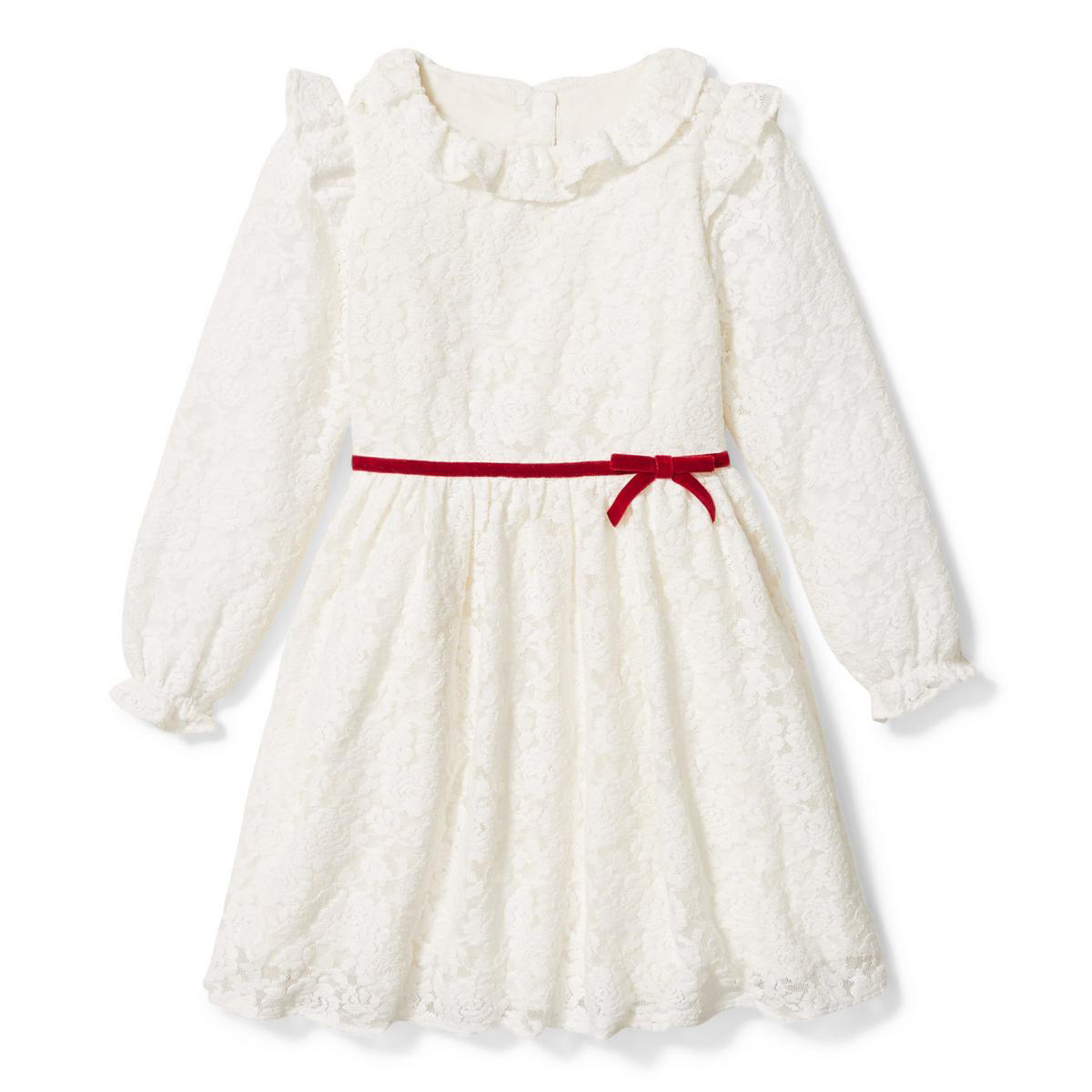 BUY: $69; janieandjack.com                             Lace is always in season for little girls—and this winter-white frock with a delicate velvet ribbon is no exception. A bloomer is included for sizes up to 18 to 24 months, though the dress is offered up to size 12.