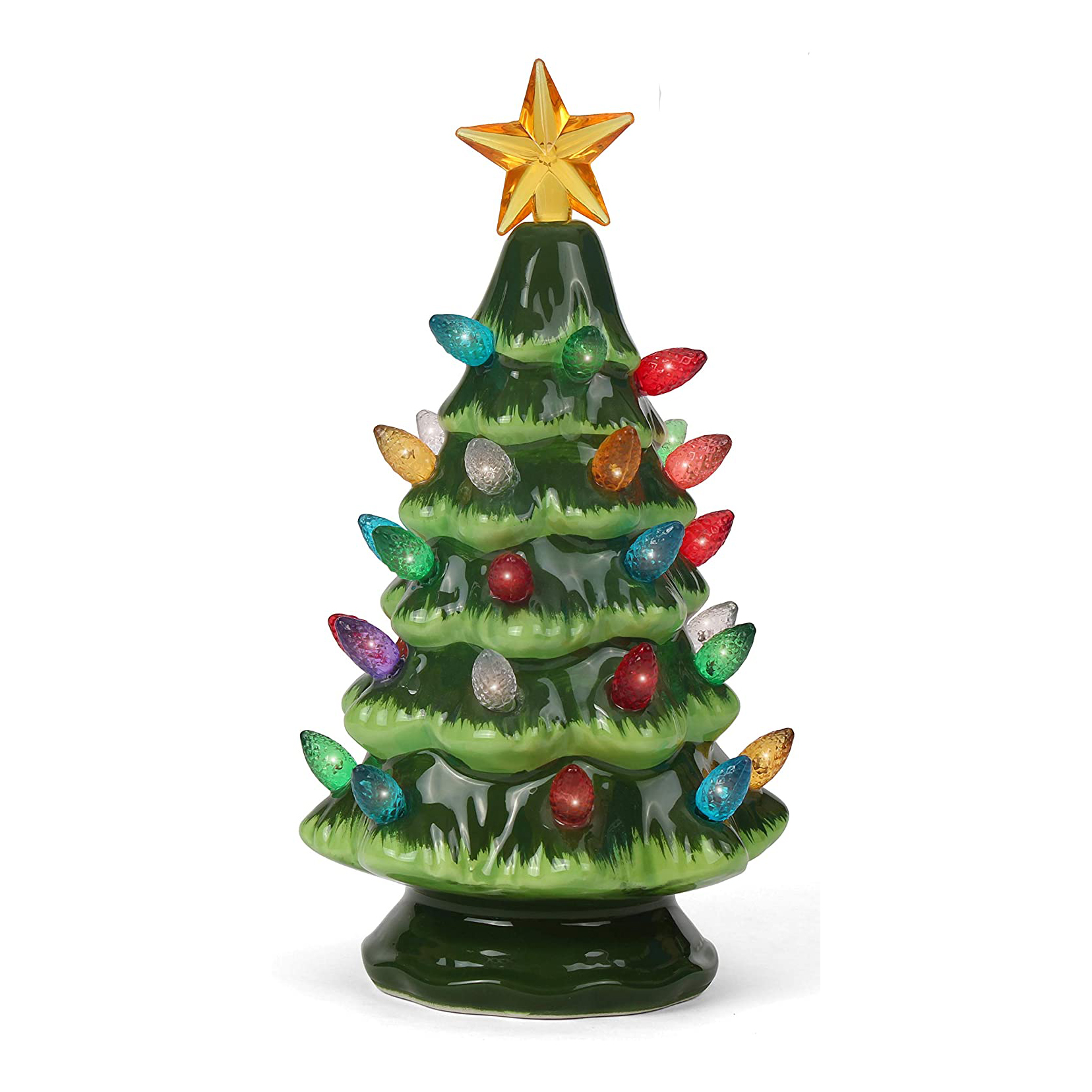 Small Green Ceramic Christmas Tree with Lights