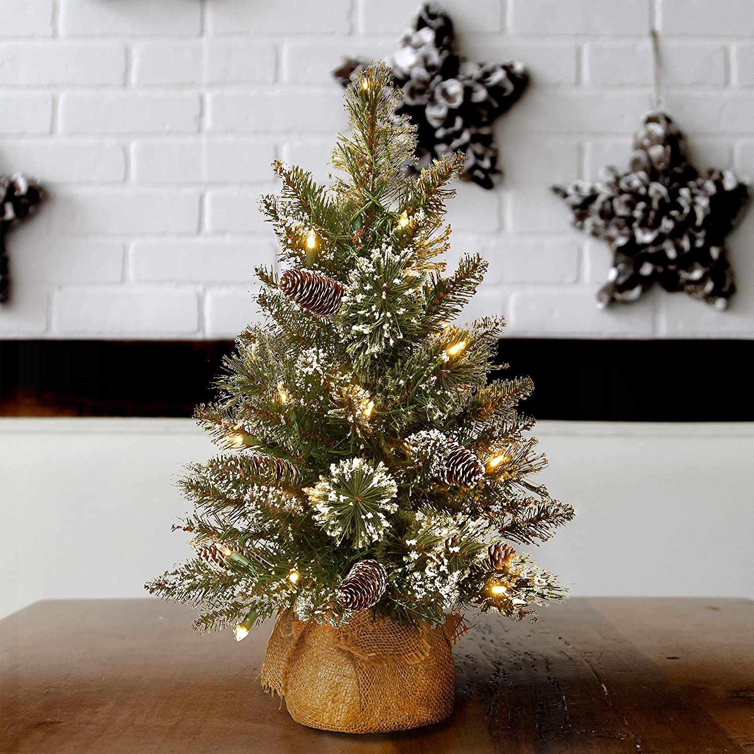 Pre-Lit Artificial 2-Foot Tree with Pine Cones