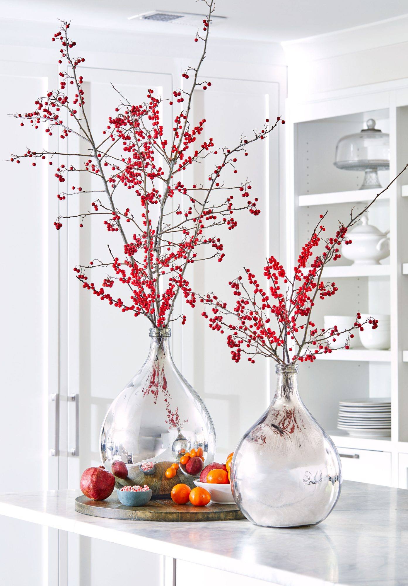 Mercury Glass Vase with holly berry branches