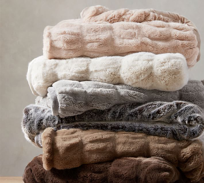 Faux Fur Ruched Throw