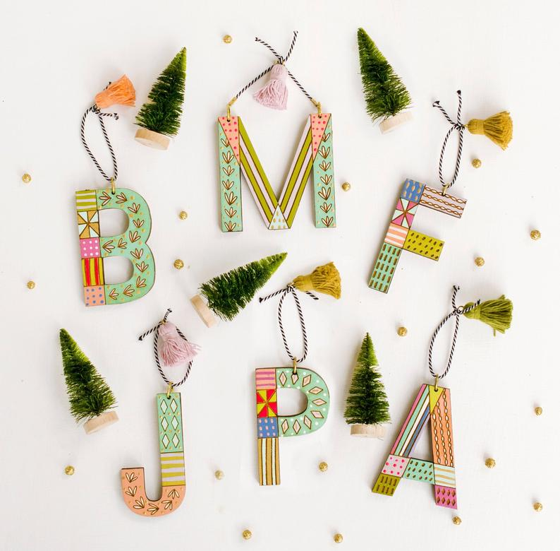 Colorful Initial Christmas Ornament