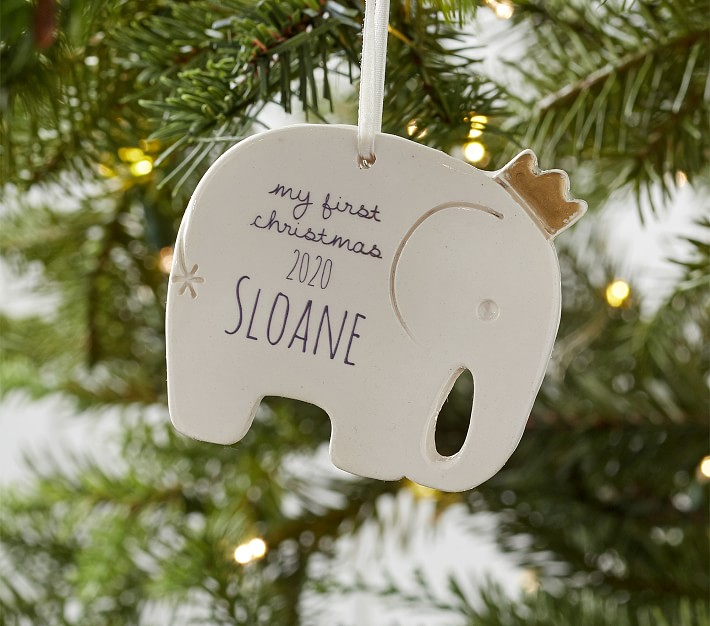 Baby's First Christmas Elephant Personalized Ceramic Ornament