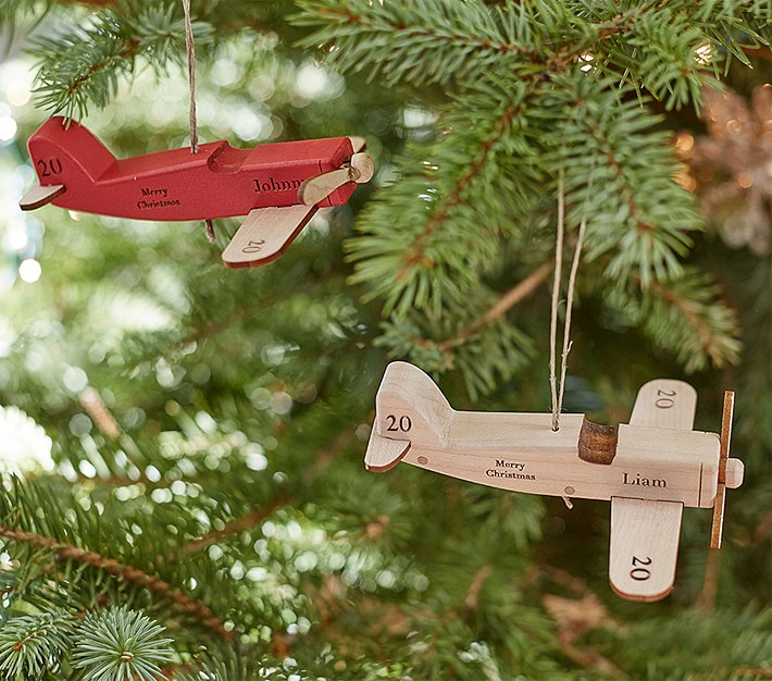 Personalized Wooden Airplane Ornaments