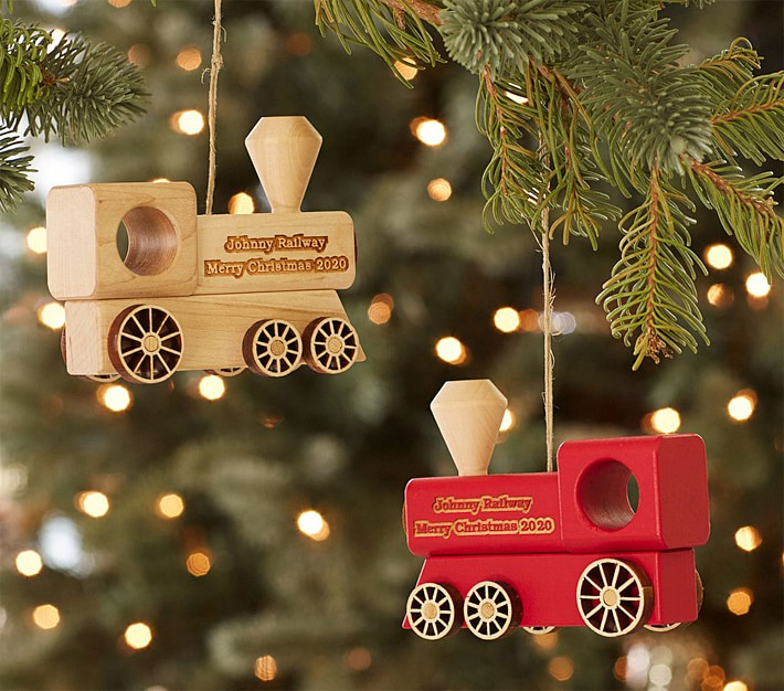 Personalized Wooden Train Ornaments