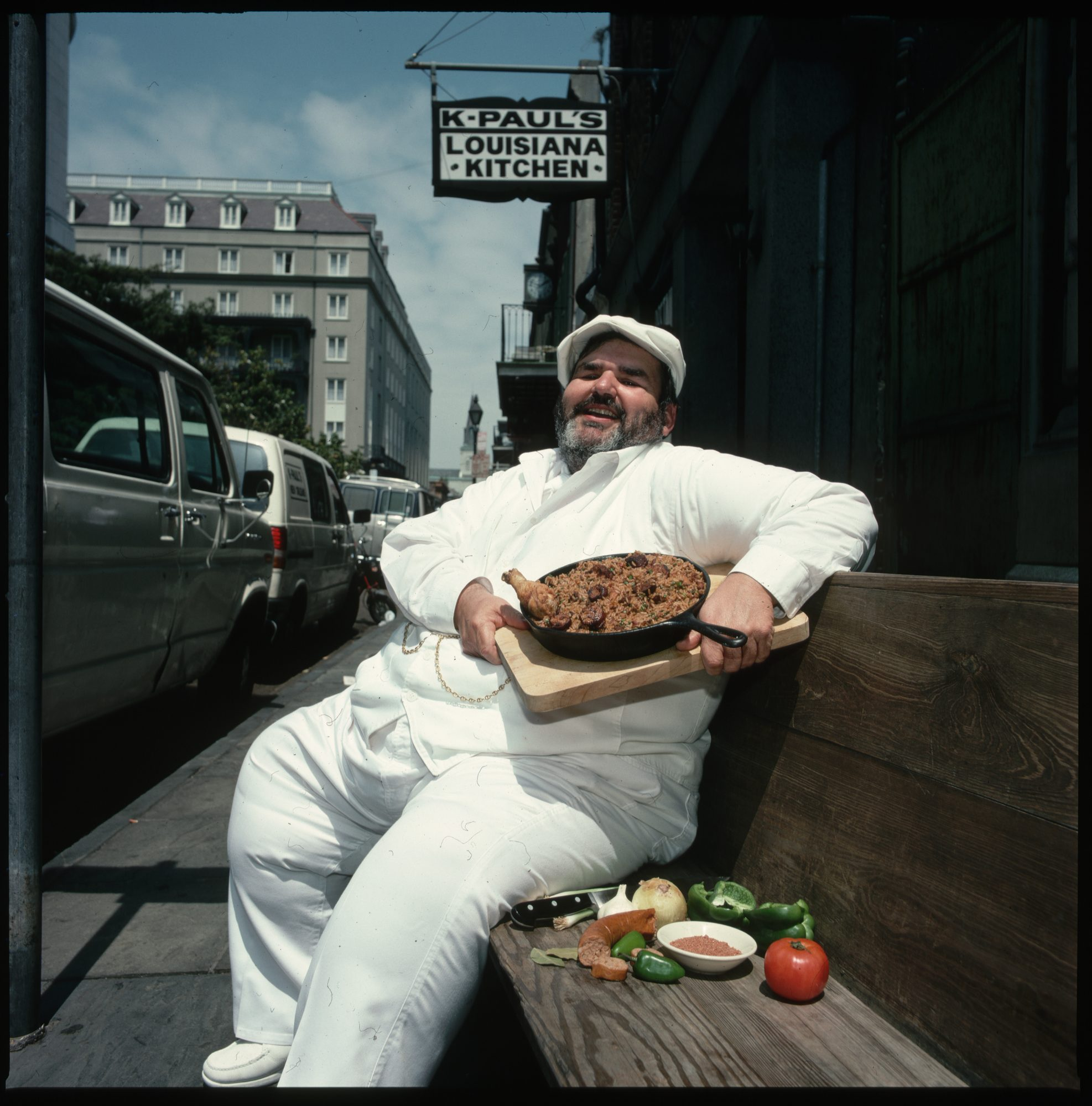 Chef Paul Prudhomme With Jambalaya Outside K-Paul's