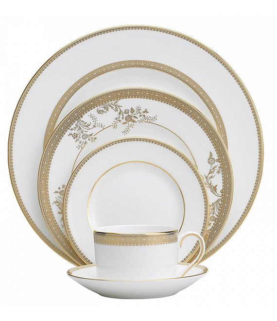Vera Wang by Wedgwood Vera Lace Floral in White and Gold