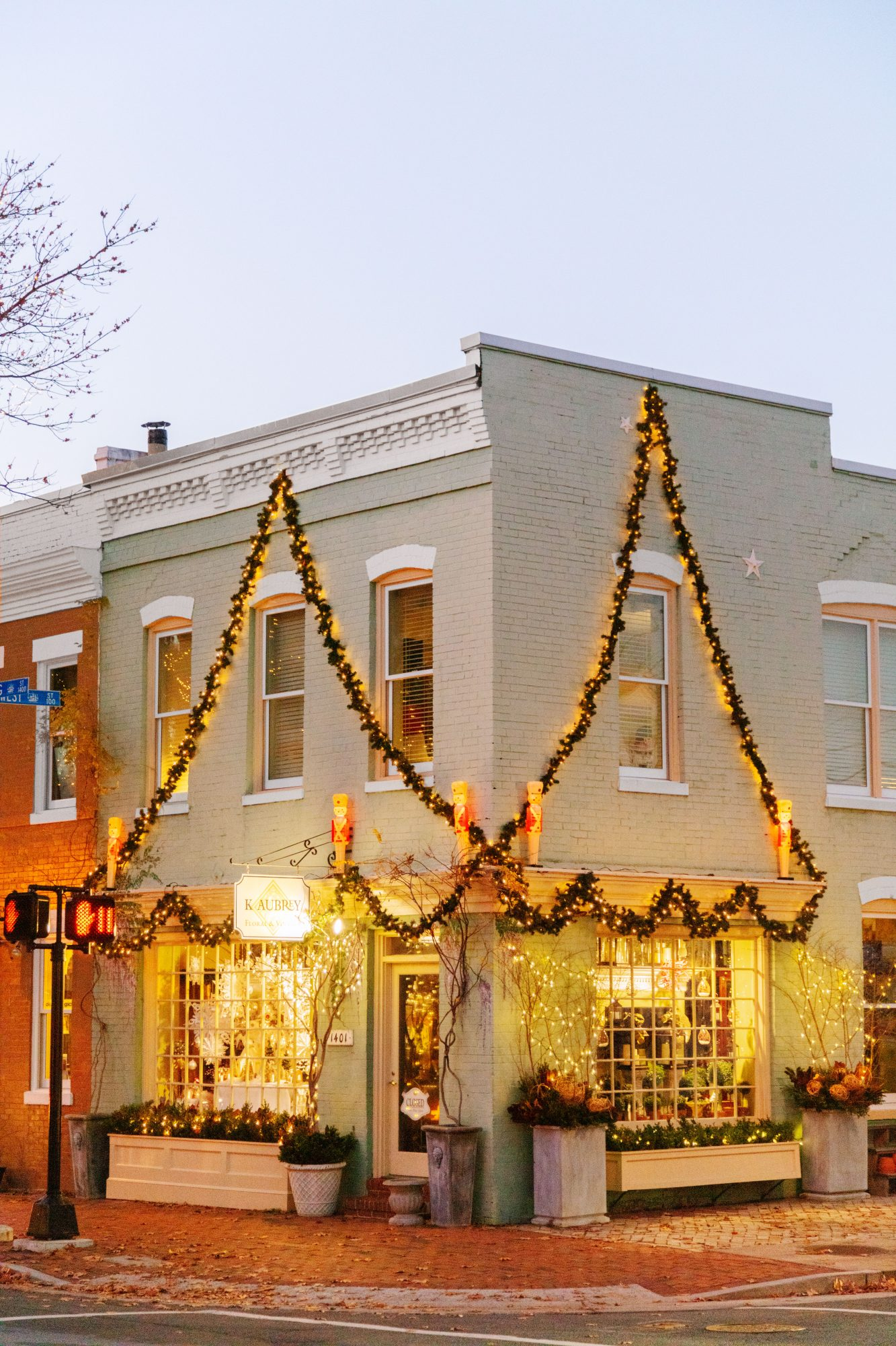 Shops decorated for Christmas on King Street in Alexandria, VA