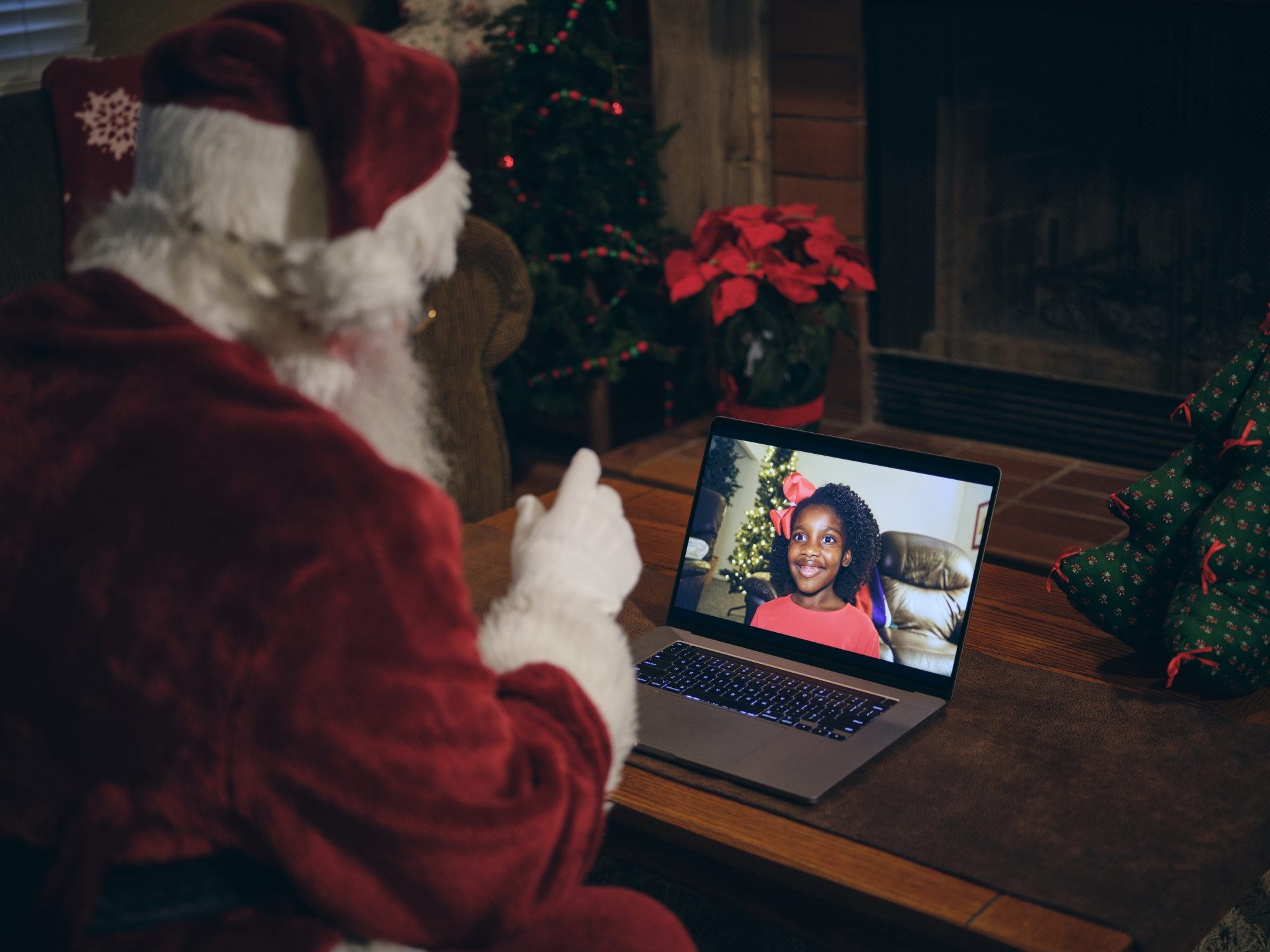 Santa Claus on a Video Conference Call