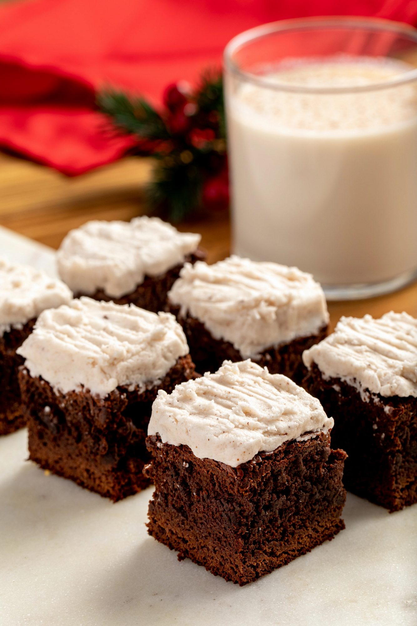 These Gingerbread Brownies with Eggnog Frosting Are the Easiest Dessert You'll Make This Season