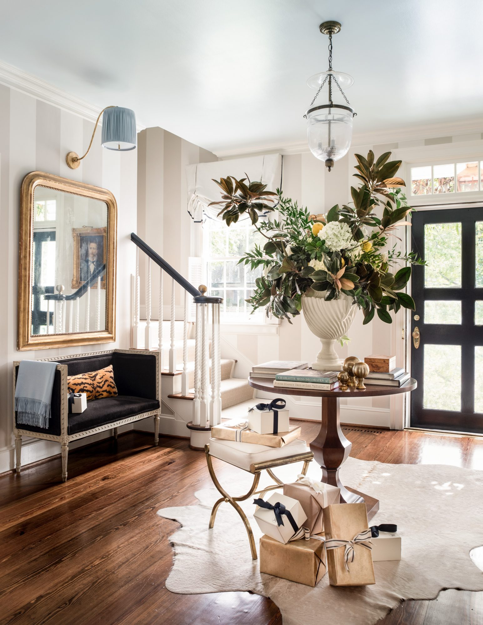 Holiday Entryway with Magnolia Arrangement