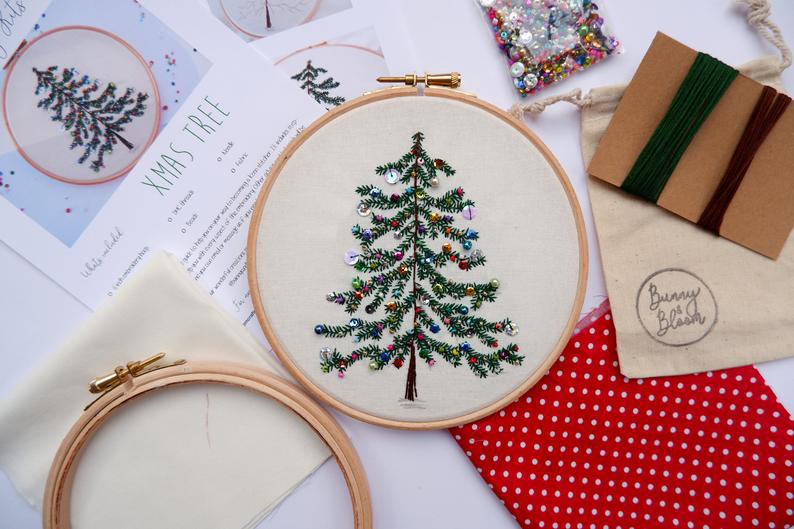 Bunny & Blooms Christmas Tree Embroidery Kit